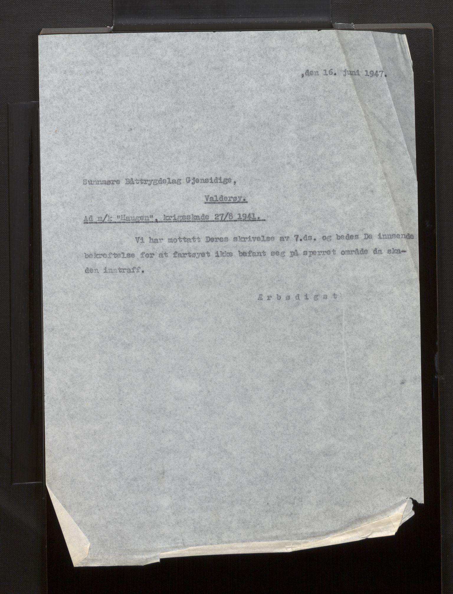 SAB, Fiskeridirektoratet - 1 Adm. ledelse - 13 Båtkontoret, La/L0042: Statens krigsforsikring for fiskeflåten, 1936-1971, s. 803