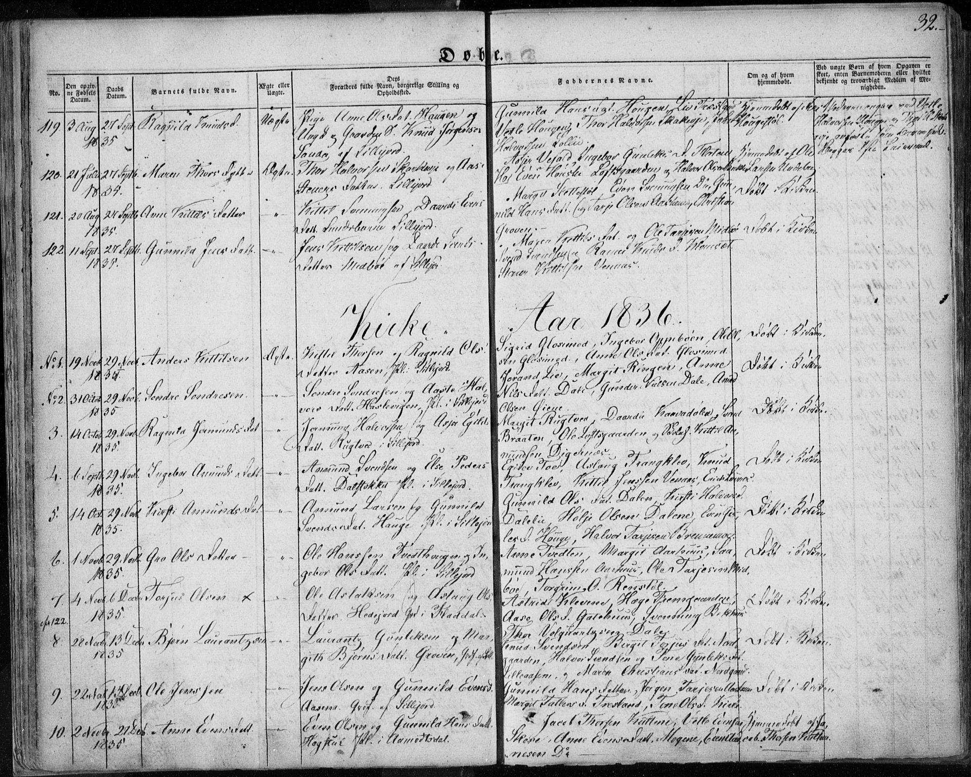 SAKO, Seljord kirkebøker, F/Fa/L0011: Ministerialbok nr. I 11, 1831-1849, s. 32