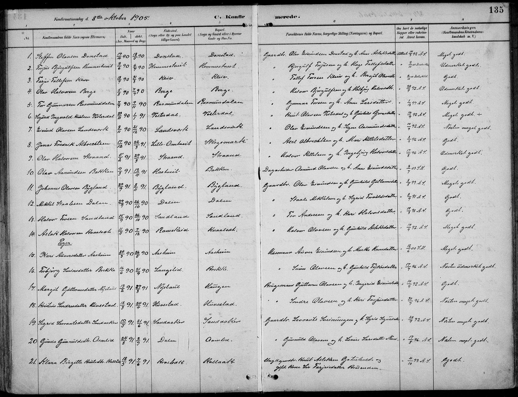SAKO, Kviteseid kirkebøker, F/Fb/L0002: Ministerialbok nr. II 2, 1882-1916, s. 135