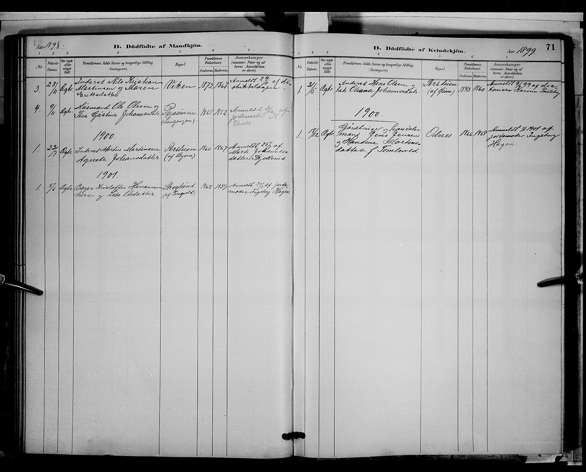 SAH, Søndre Land prestekontor, L/L0003: Klokkerbok nr. 3, 1884-1902, s. 71