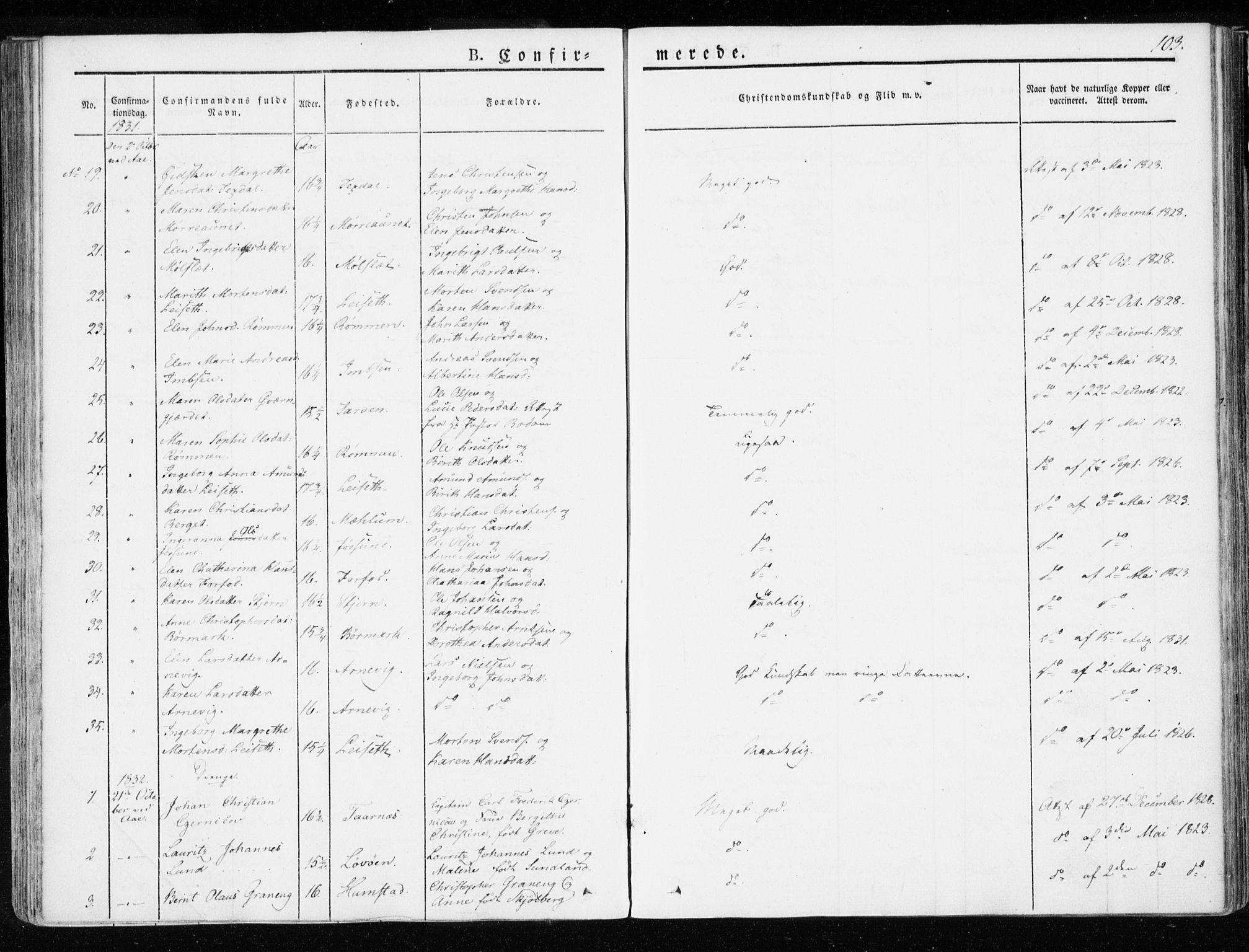 SAT, Ministerialprotokoller, klokkerbøker og fødselsregistre - Sør-Trøndelag, 655/L0676: Ministerialbok nr. 655A05, 1830-1847, s. 103