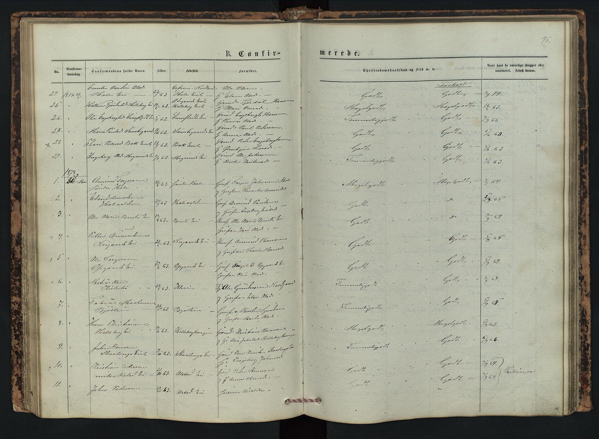 SAH, Vestre Gausdal prestekontor, Klokkerbok nr. 2, 1874-1897, s. 95