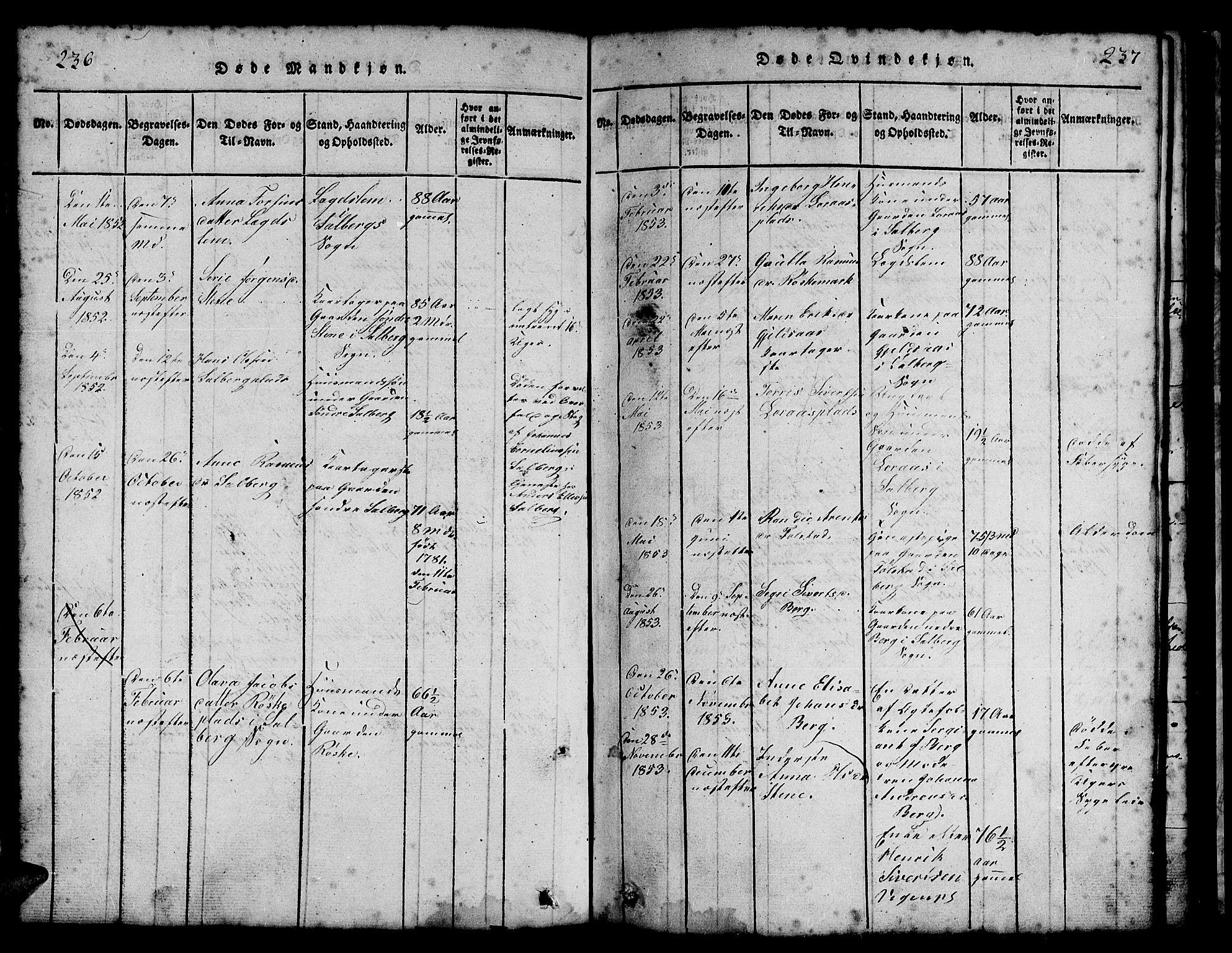 SAT, Ministerialprotokoller, klokkerbøker og fødselsregistre - Nord-Trøndelag, 731/L0310: Klokkerbok nr. 731C01, 1816-1874, s. 236-237