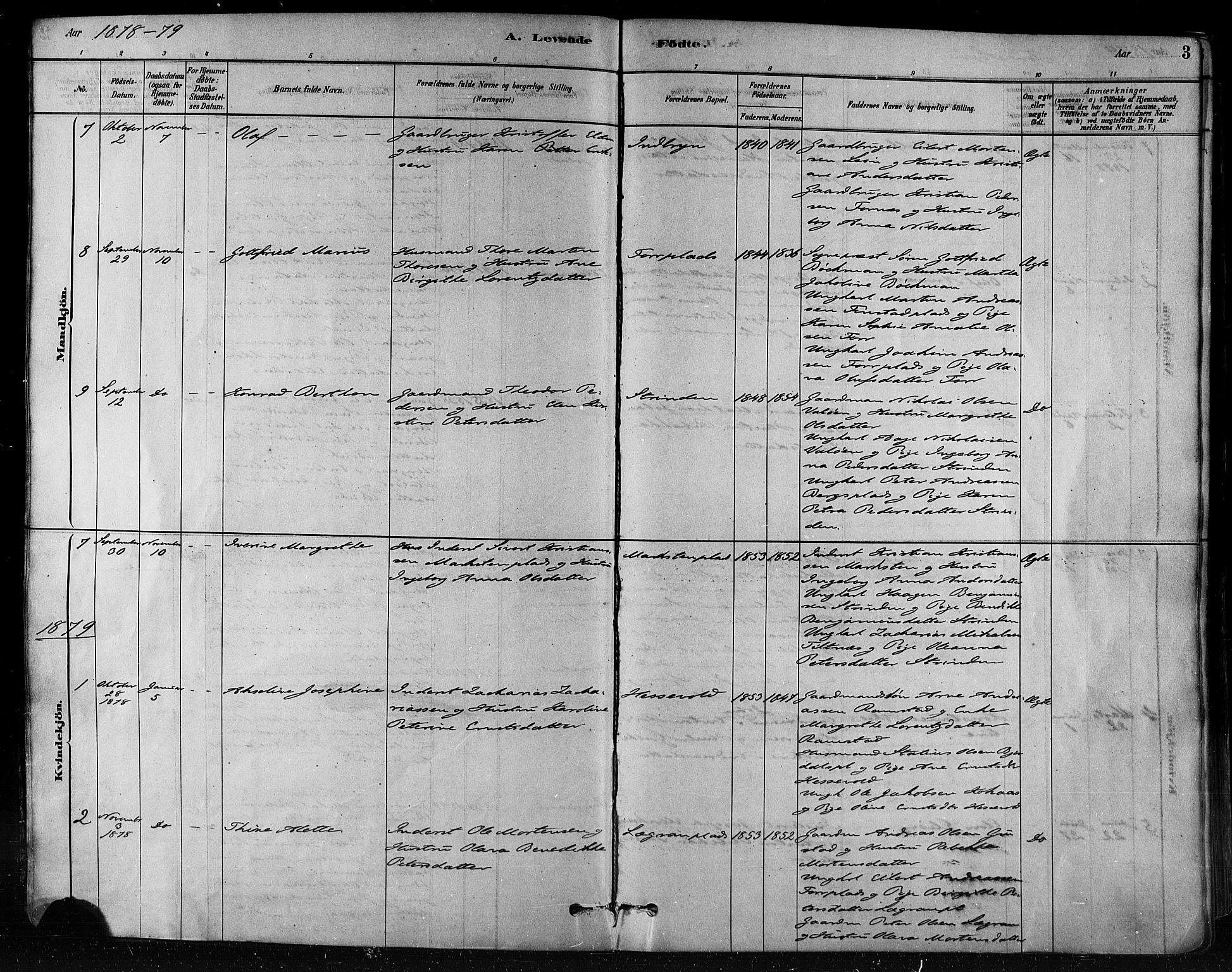 SAT, Ministerialprotokoller, klokkerbøker og fødselsregistre - Nord-Trøndelag, 746/L0448: Ministerialbok nr. 746A07 /1, 1878-1900, s. 3