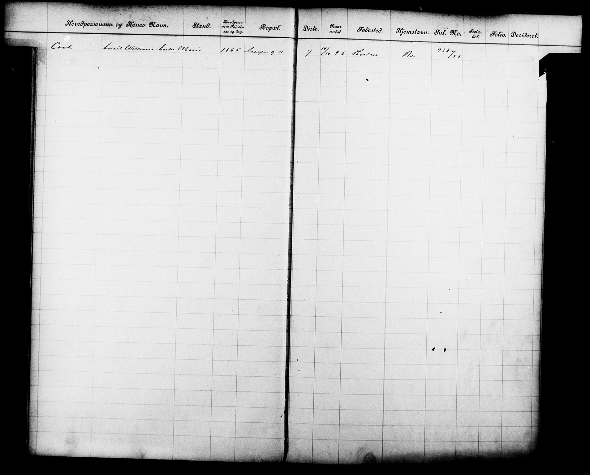 OBA, Fattigvesenet, Fb/L0016: Hjemstavnsregister, 1896, s. 27