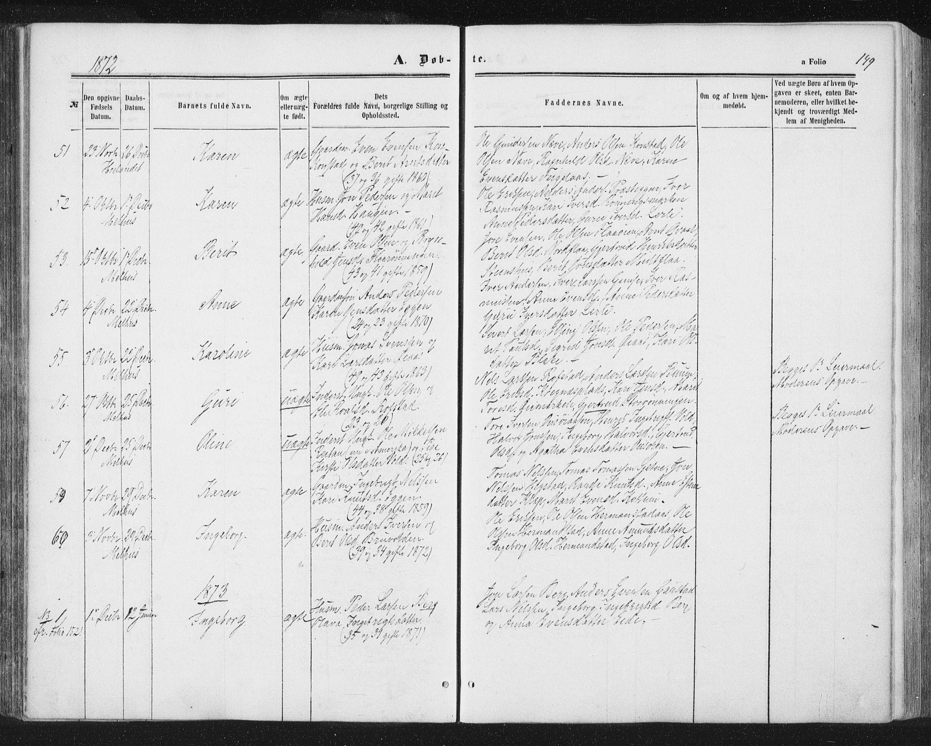 SAT, Ministerialprotokoller, klokkerbøker og fødselsregistre - Sør-Trøndelag, 691/L1077: Ministerialbok nr. 691A09, 1862-1873, s. 149