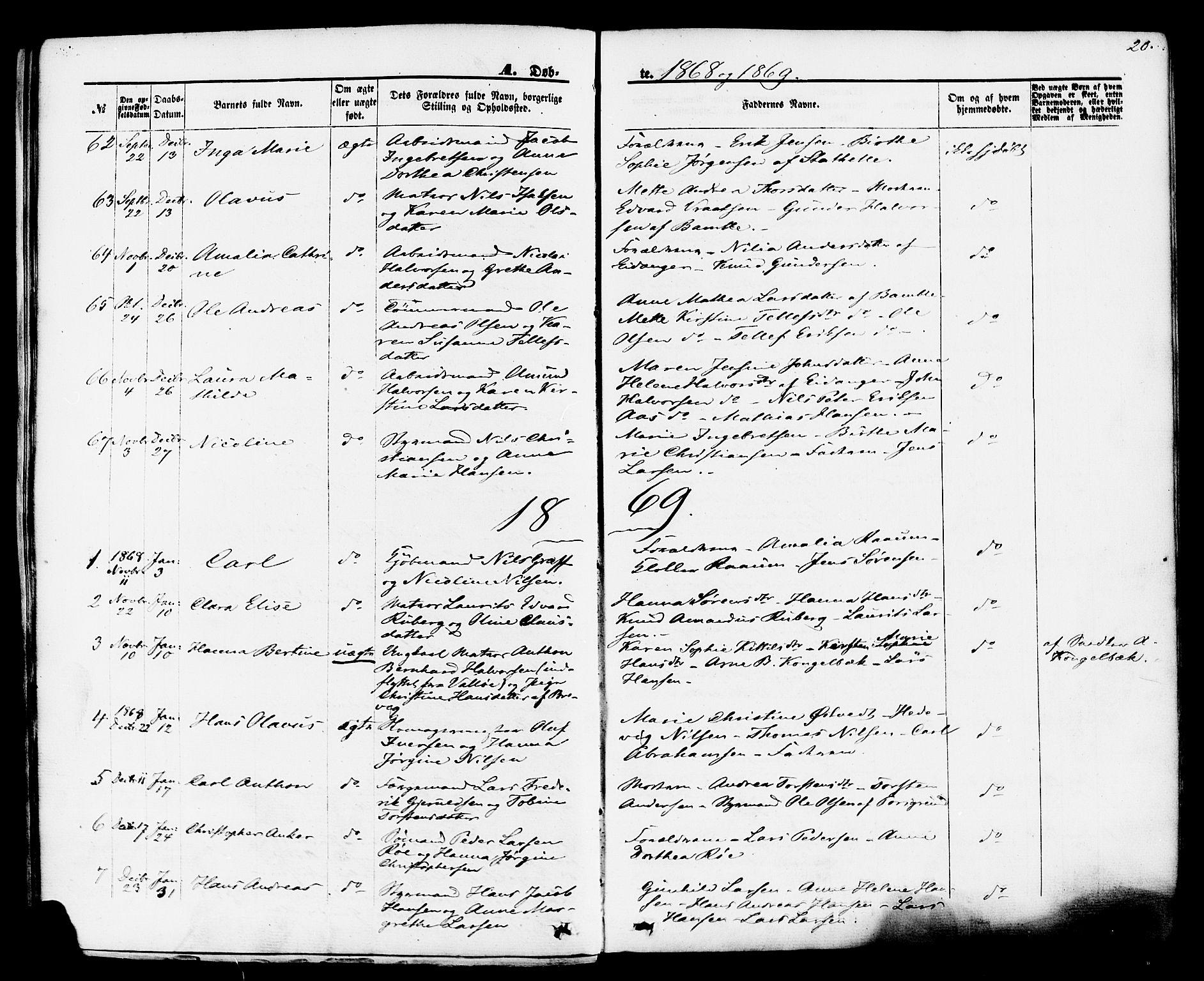 SAKO, Brevik kirkebøker, F/Fa/L0006: Ministerialbok nr. 6, 1866-1881, s. 20