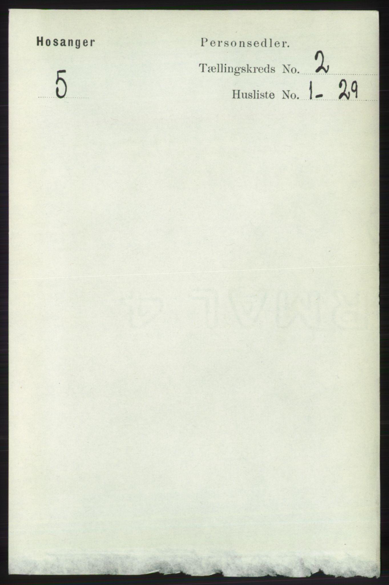 RA, Folketelling 1891 for 1253 Hosanger herred, 1891, s. 575