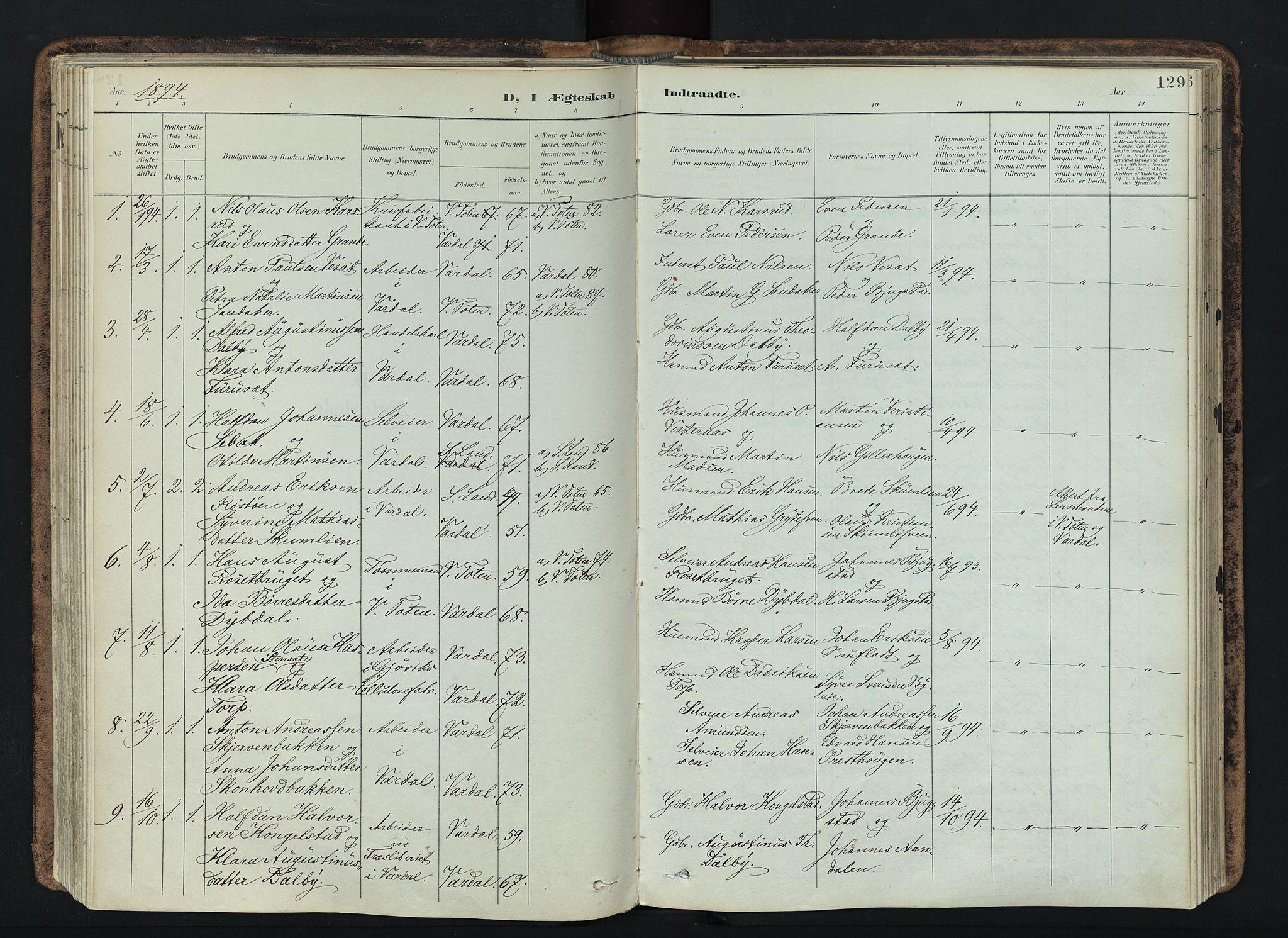 SAH, Vardal prestekontor, H/Ha/Haa/L0019: Ministerialbok nr. 19, 1893-1907, s. 129