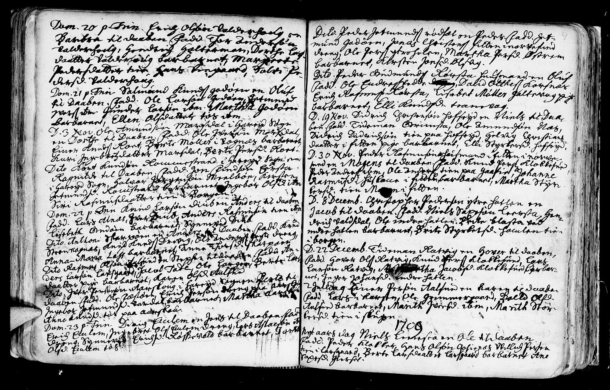 SAT, Ministerialprotokoller, klokkerbøker og fødselsregistre - Møre og Romsdal, 528/L0390: Ministerialbok nr. 528A01, 1698-1739, s. 208-209