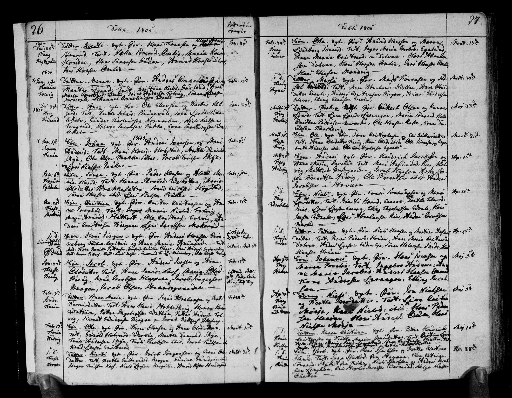 SAKO, Brunlanes kirkebøker, F/Fa/L0002: Ministerialbok nr. I 2, 1802-1834, s. 26-27