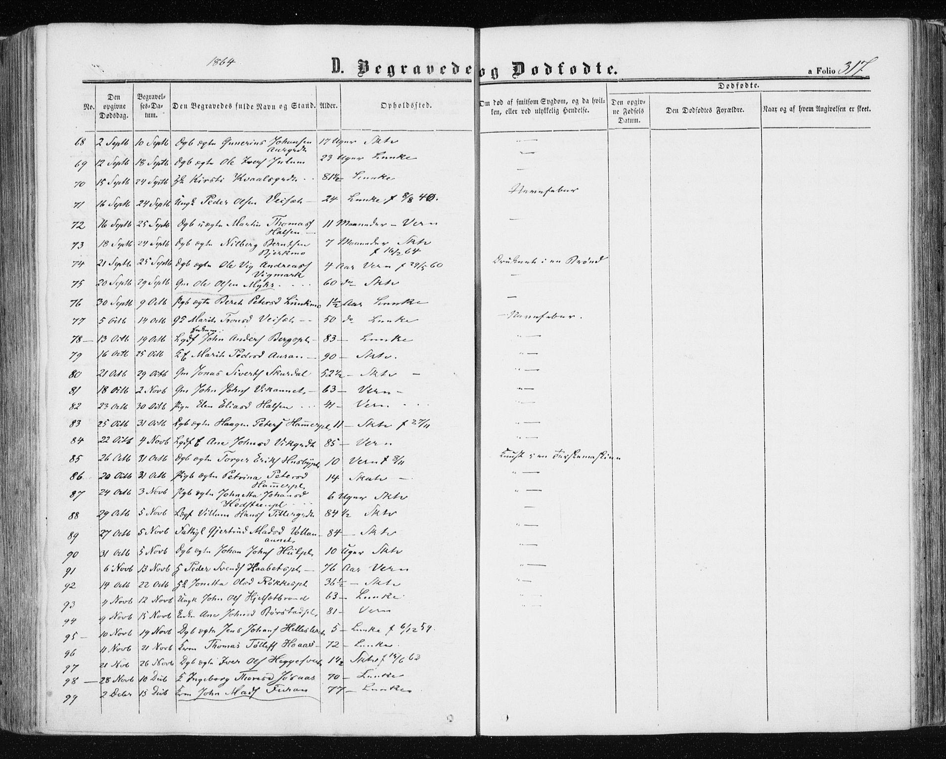 SAT, Ministerialprotokoller, klokkerbøker og fødselsregistre - Nord-Trøndelag, 709/L0075: Ministerialbok nr. 709A15, 1859-1870, s. 317