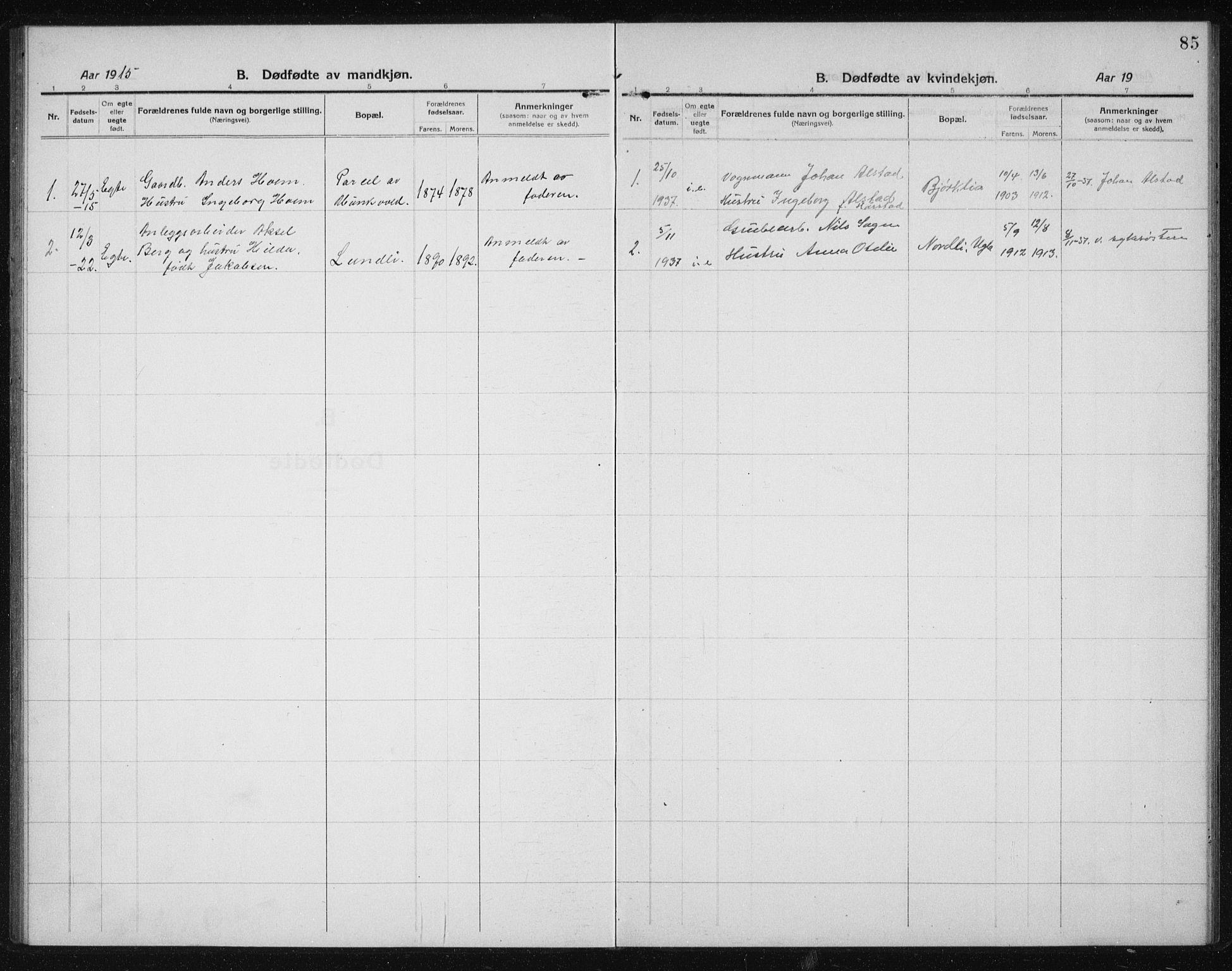 SAT, Ministerialprotokoller, klokkerbøker og fødselsregistre - Sør-Trøndelag, 611/L0356: Klokkerbok nr. 611C04, 1914-1938, s. 85