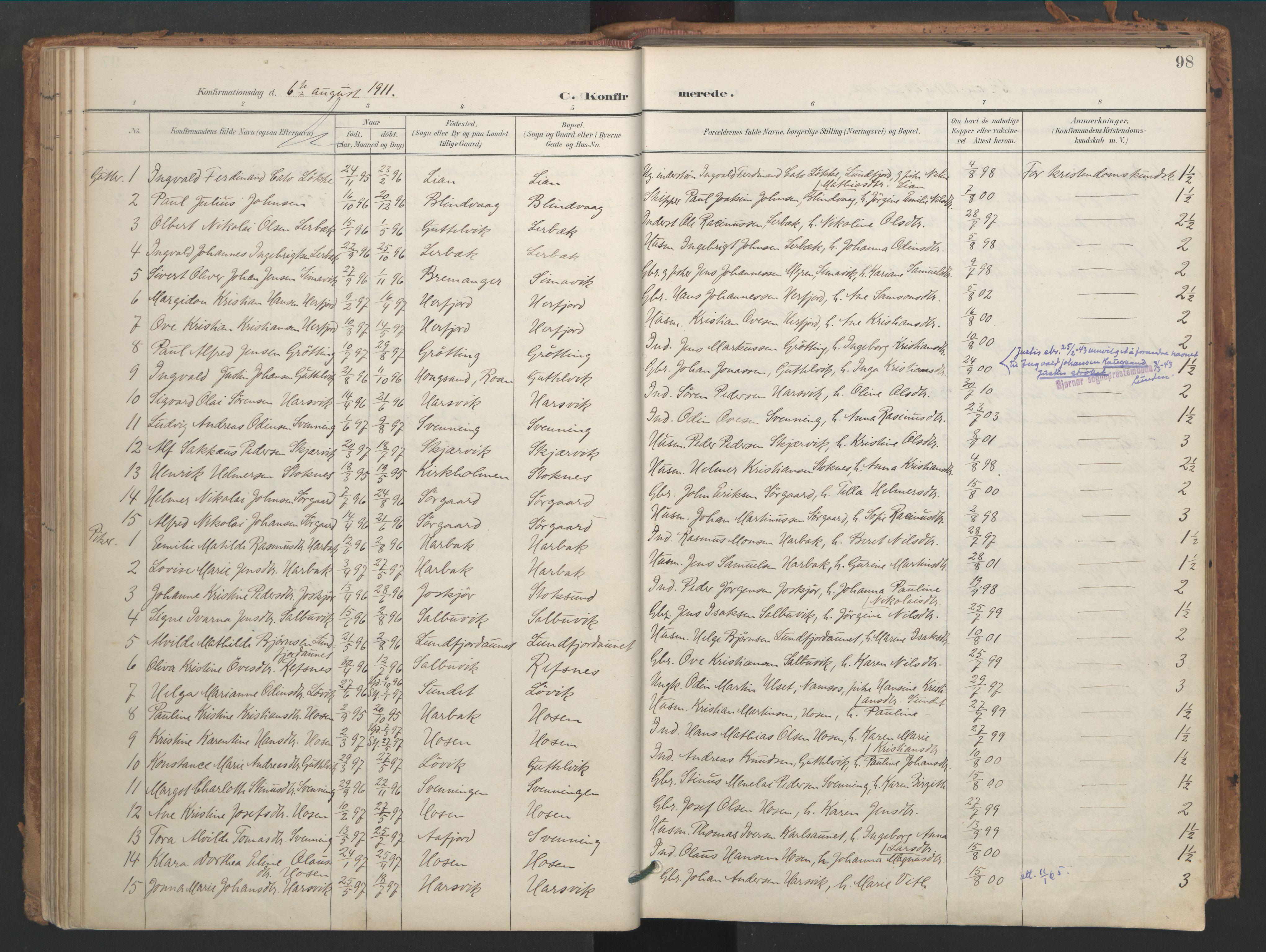 SAT, Ministerialprotokoller, klokkerbøker og fødselsregistre - Sør-Trøndelag, 656/L0693: Ministerialbok nr. 656A02, 1894-1913, s. 98