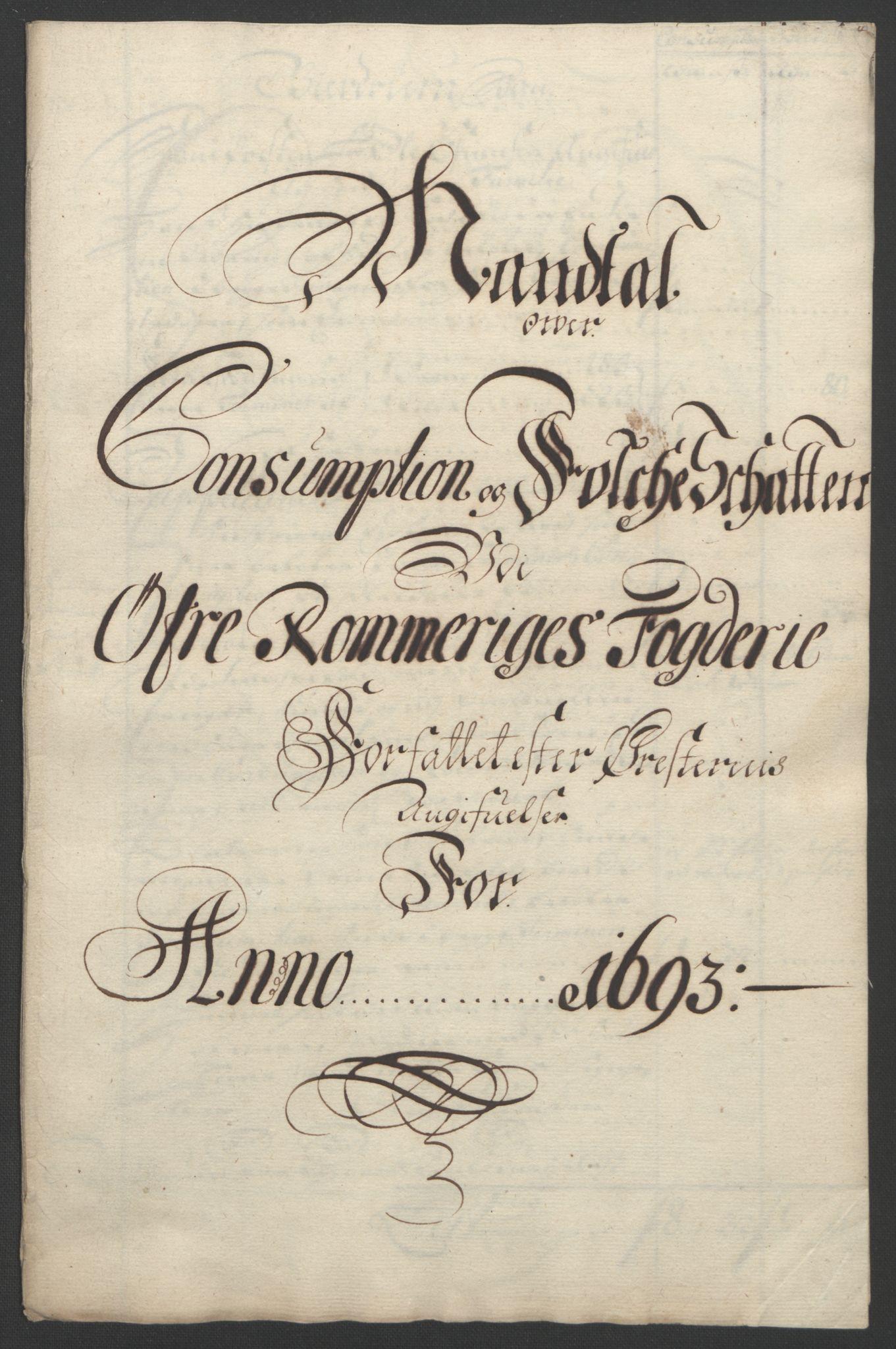 RA, Rentekammeret inntil 1814, Reviderte regnskaper, Fogderegnskap, R12/L0705: Fogderegnskap Øvre Romerike, 1693, s. 224