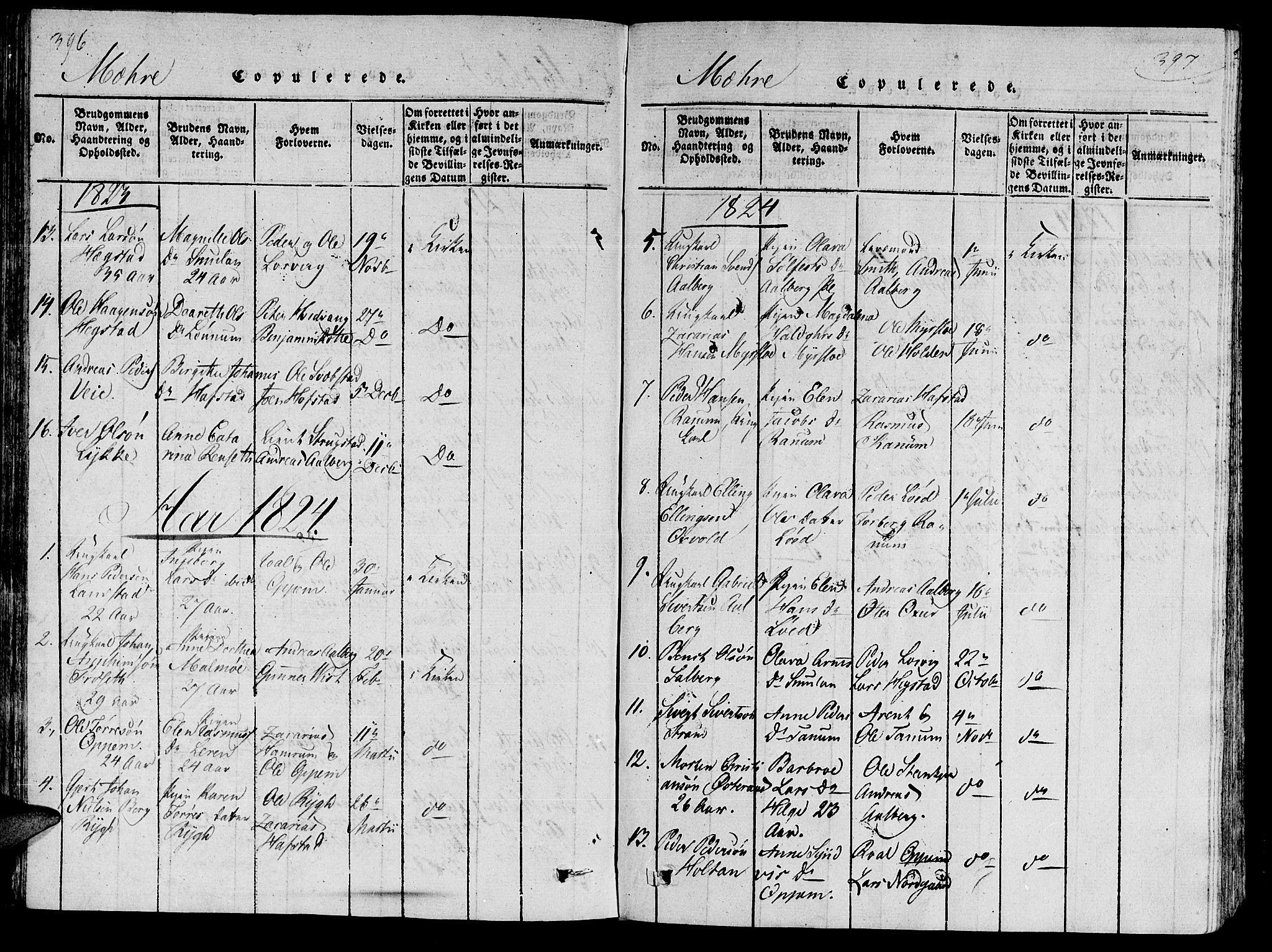 SAT, Ministerialprotokoller, klokkerbøker og fødselsregistre - Nord-Trøndelag, 735/L0333: Ministerialbok nr. 735A04 /1, 1816-1824, s. 396-397