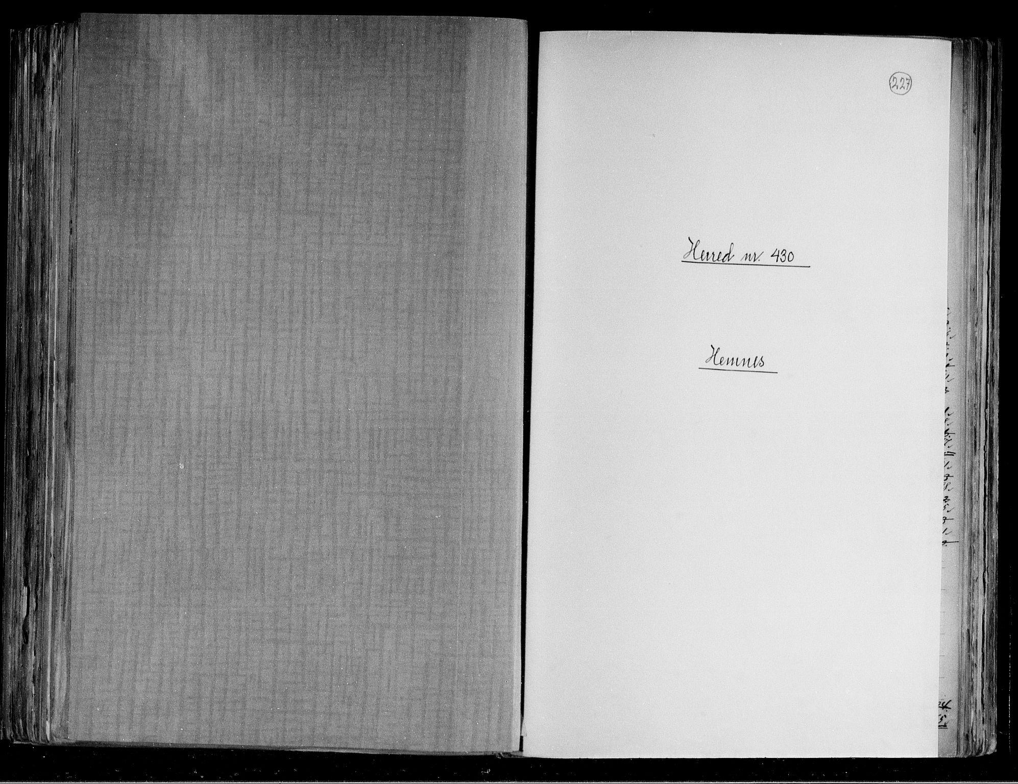 RA, Folketelling 1891 for 1832 Hemnes herred, 1891, s. 1