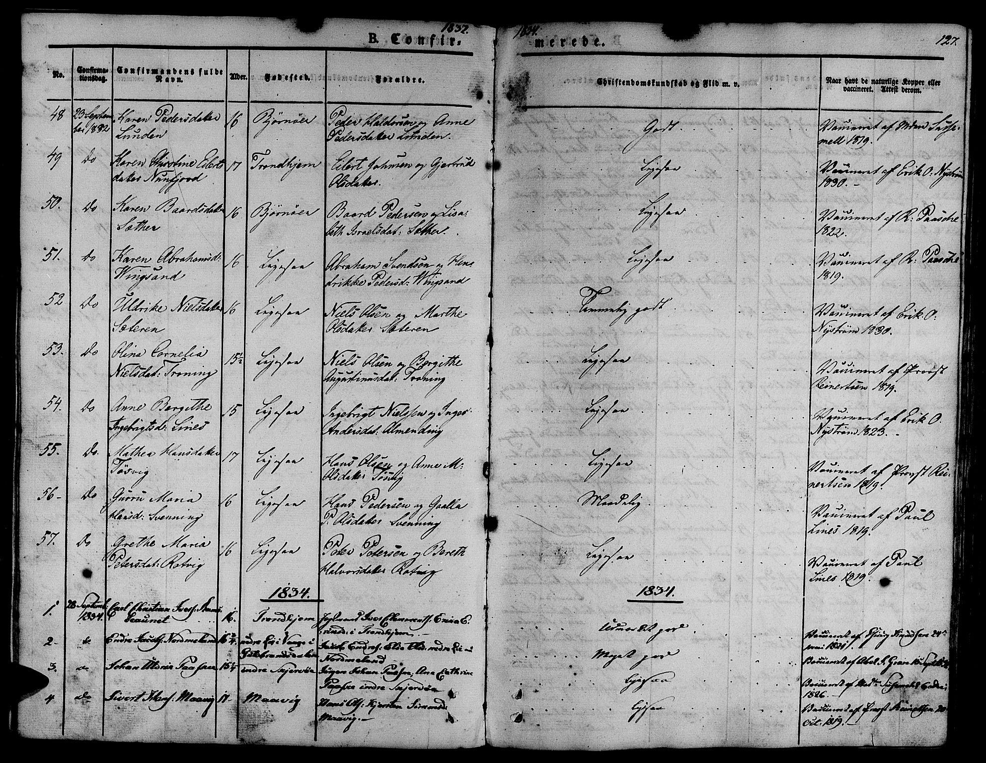 SAT, Ministerialprotokoller, klokkerbøker og fødselsregistre - Sør-Trøndelag, 657/L0703: Ministerialbok nr. 657A04, 1831-1846, s. 127