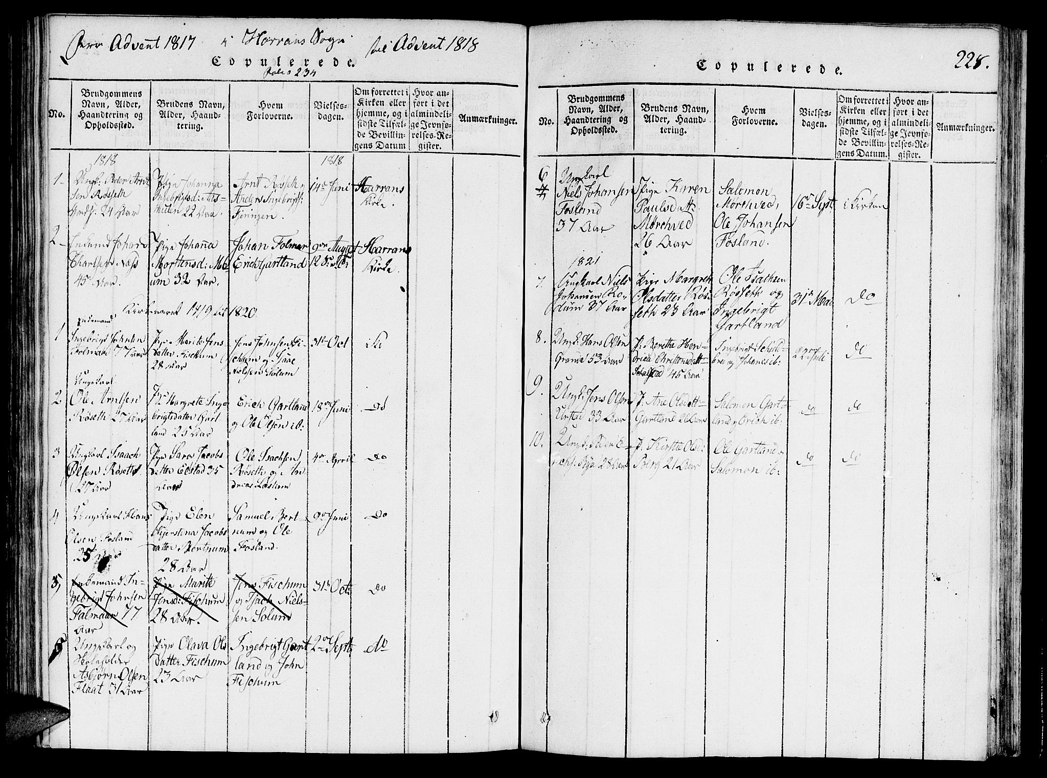 SAT, Ministerialprotokoller, klokkerbøker og fødselsregistre - Nord-Trøndelag, 764/L0546: Ministerialbok nr. 764A06 /5, 1818-1821, s. 228
