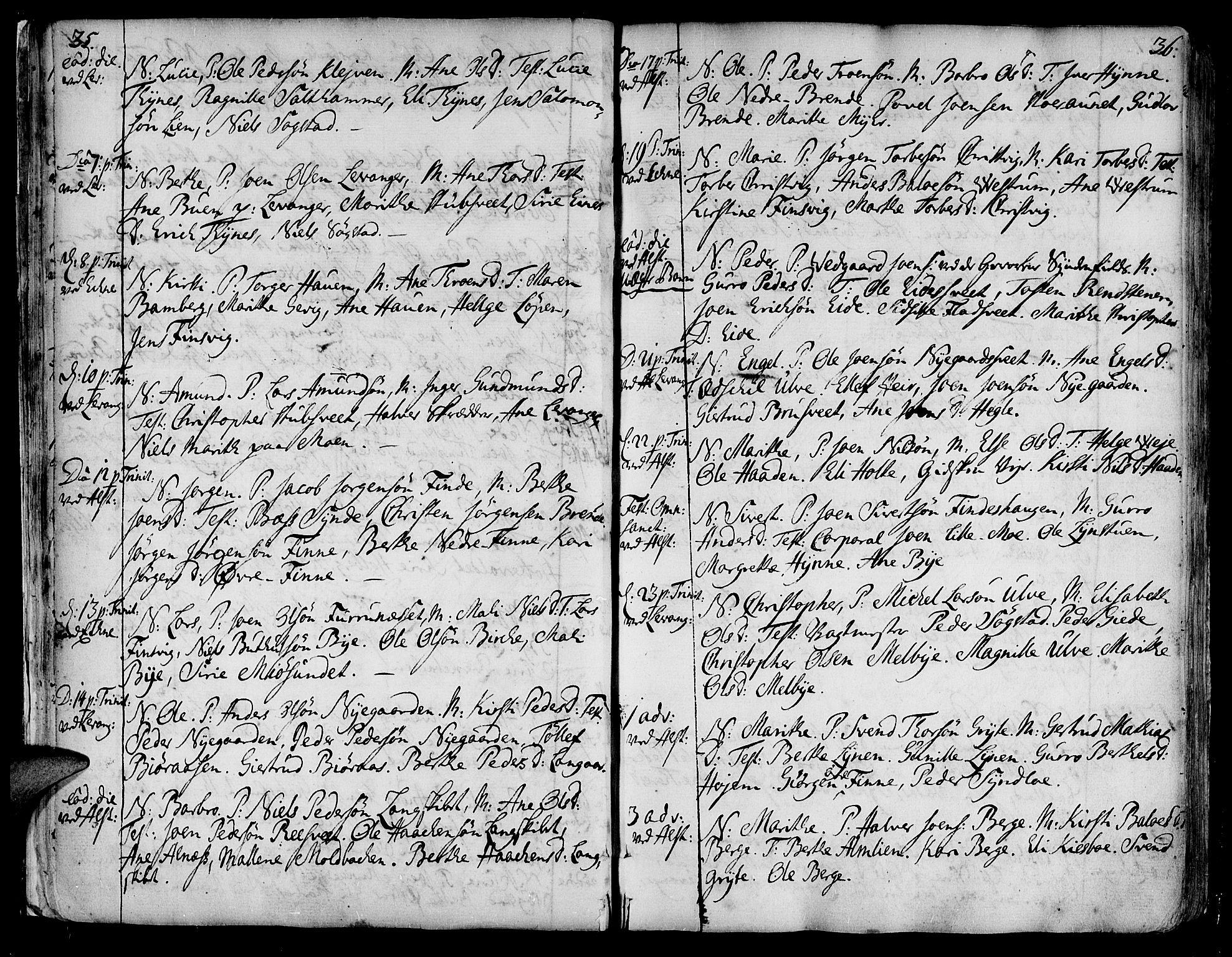 SAT, Ministerialprotokoller, klokkerbøker og fødselsregistre - Nord-Trøndelag, 717/L0141: Ministerialbok nr. 717A01, 1747-1803, s. 35-36