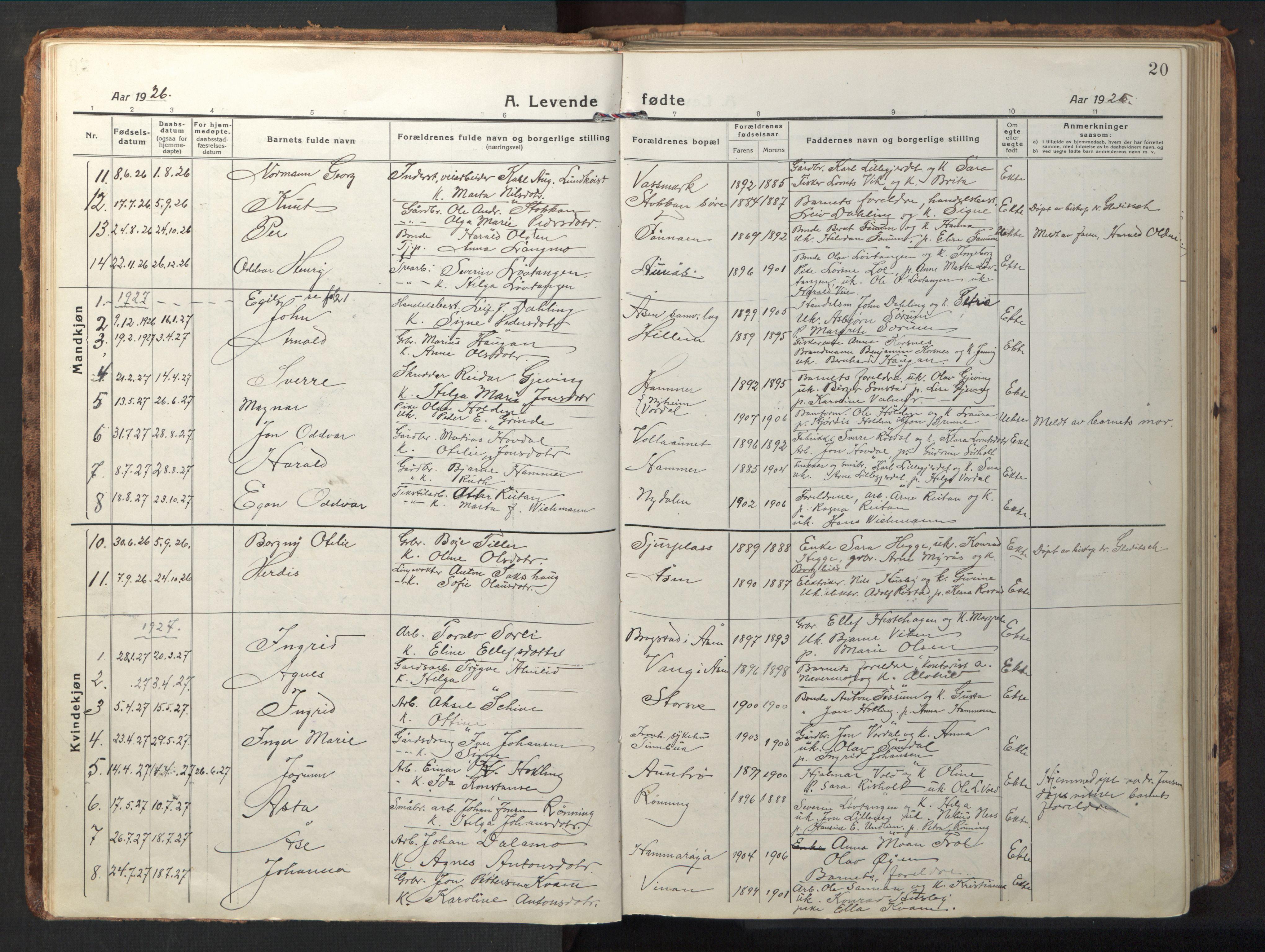 SAT, Ministerialprotokoller, klokkerbøker og fødselsregistre - Nord-Trøndelag, 714/L0136: Klokkerbok nr. 714C05, 1918-1957, s. 20