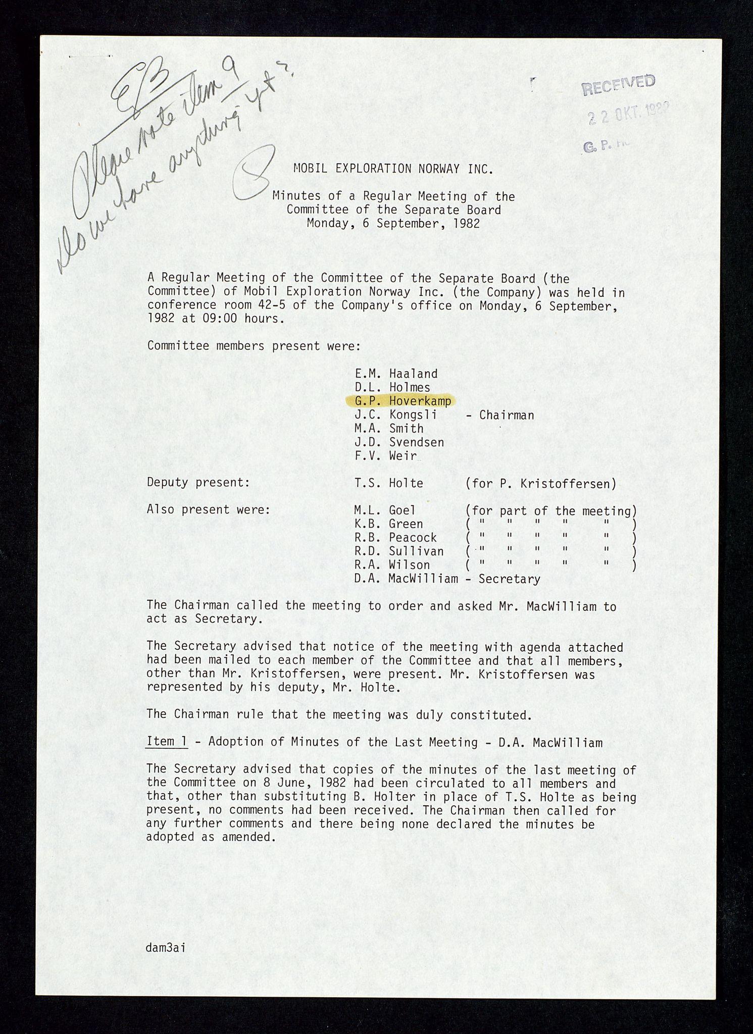 SAST, Pa 1578 - Mobil Exploration Norway Incorporated, D/Da/L0168: Sak og korrespondanse og styremøter, 1973-1986, s. 165