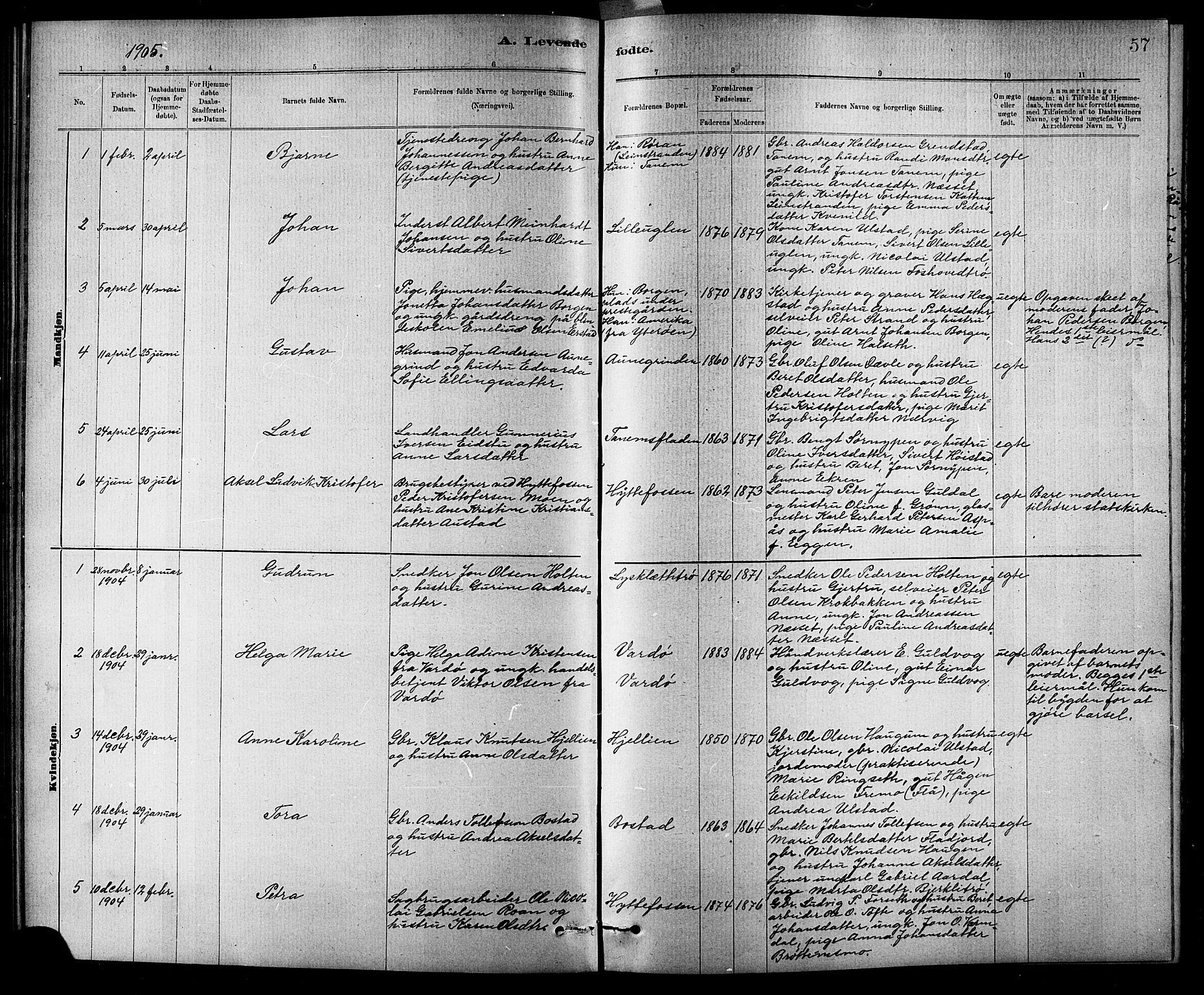 SAT, Ministerialprotokoller, klokkerbøker og fødselsregistre - Sør-Trøndelag, 618/L0452: Klokkerbok nr. 618C03, 1884-1906, s. 57