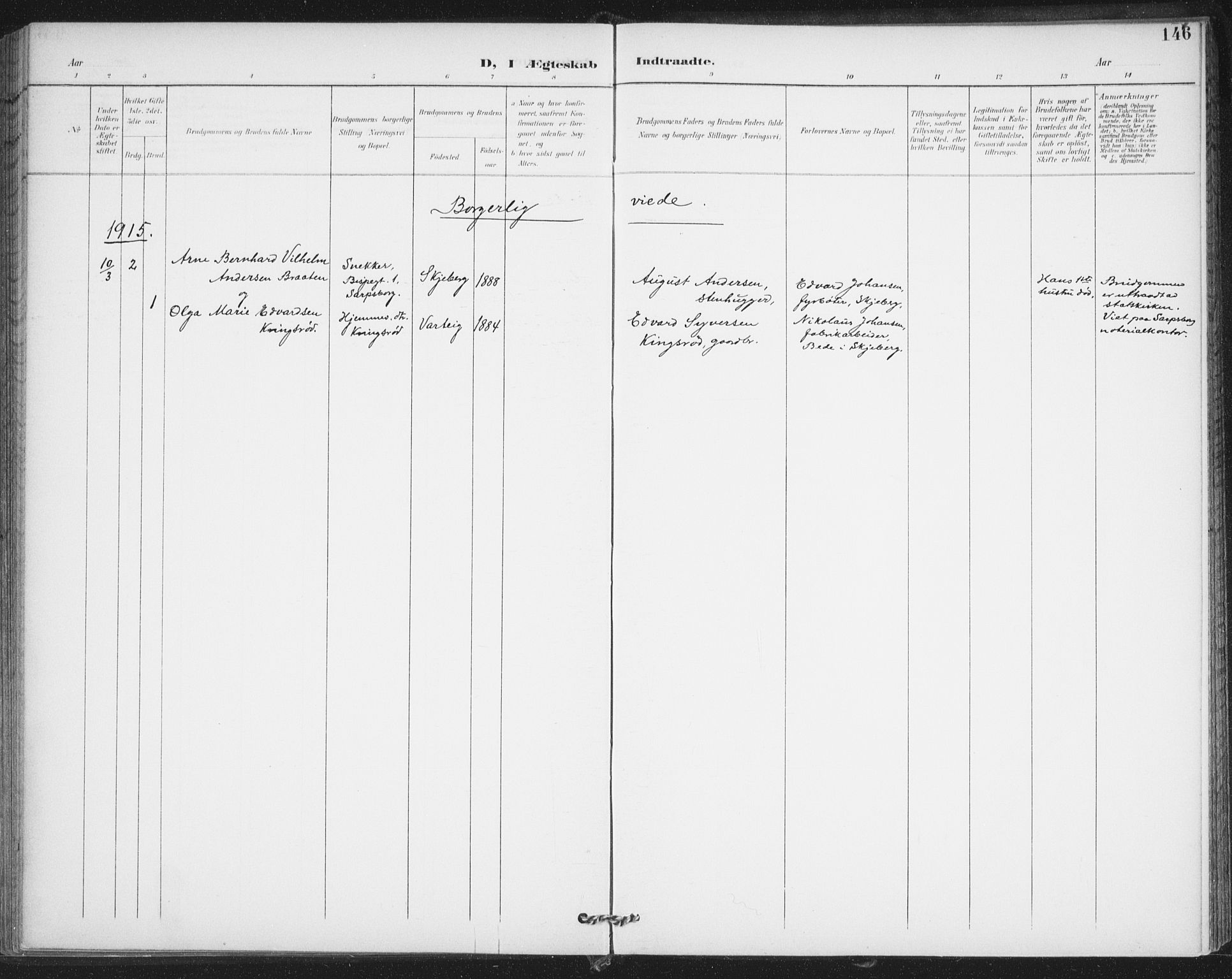SAO, Varteig prestekontor Kirkebøker, F/Fa/L0003: Ministerialbok nr. 3, 1899-1919, s. 146