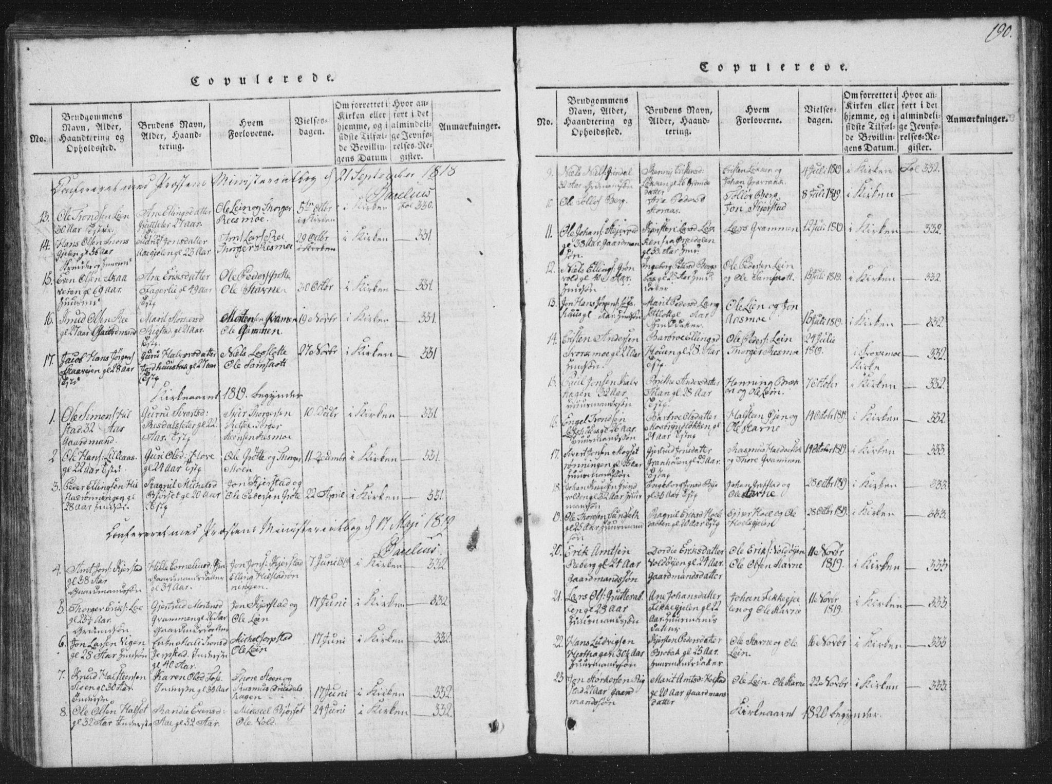 SAT, Ministerialprotokoller, klokkerbøker og fødselsregistre - Sør-Trøndelag, 672/L0862: Klokkerbok nr. 672C01, 1816-1831, s. 190