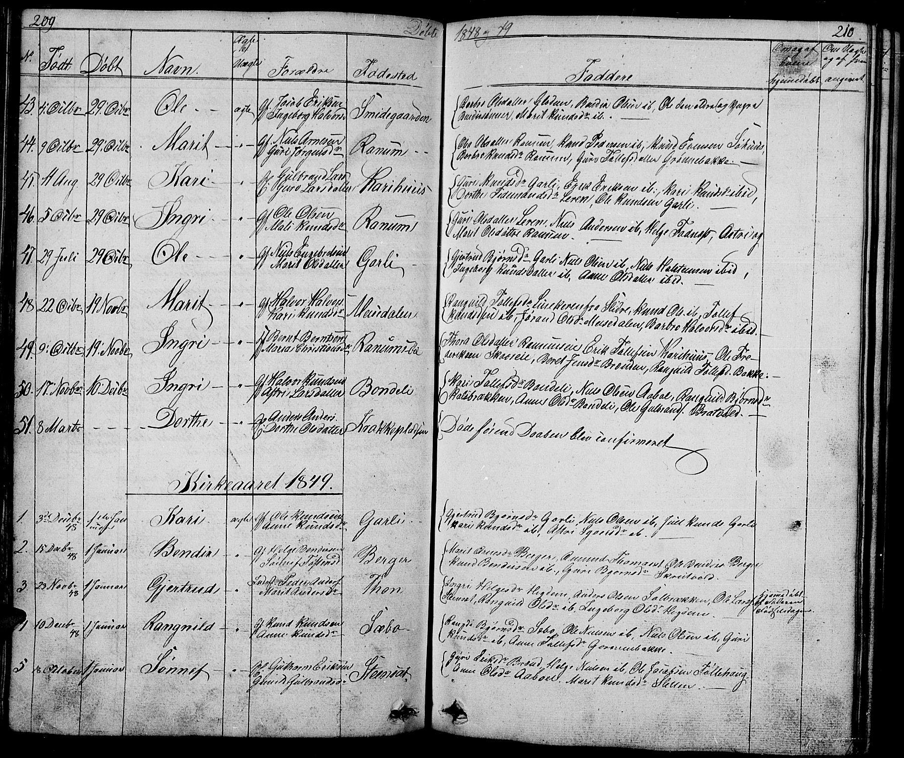 SAH, Nord-Aurdal prestekontor, Klokkerbok nr. 1, 1834-1887, s. 209-210