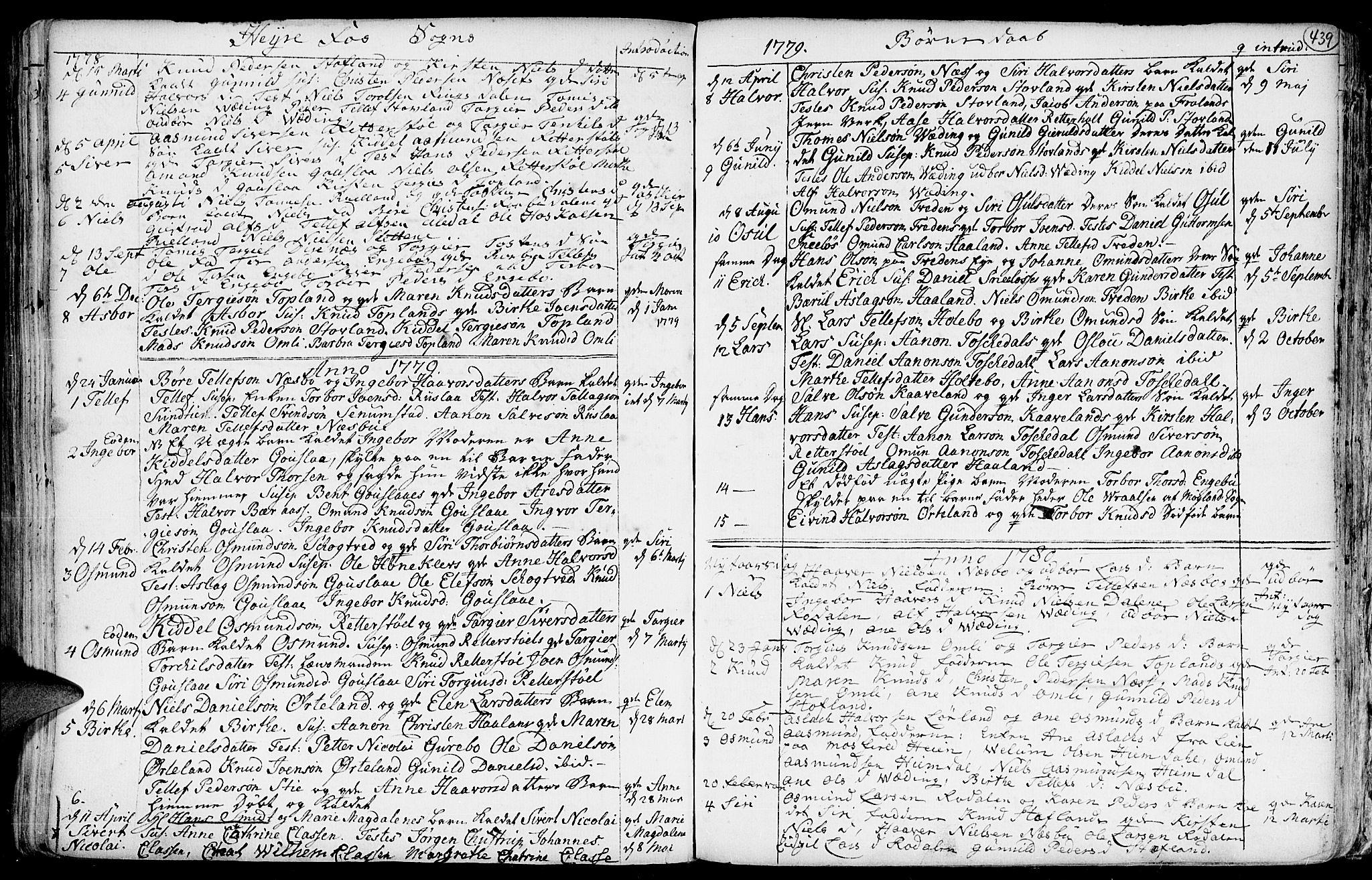 SAK, Hommedal sokneprestkontor, F/Fa/Fab/L0002: Ministerialbok nr. A 2 /3, 1740-1821, s. 439