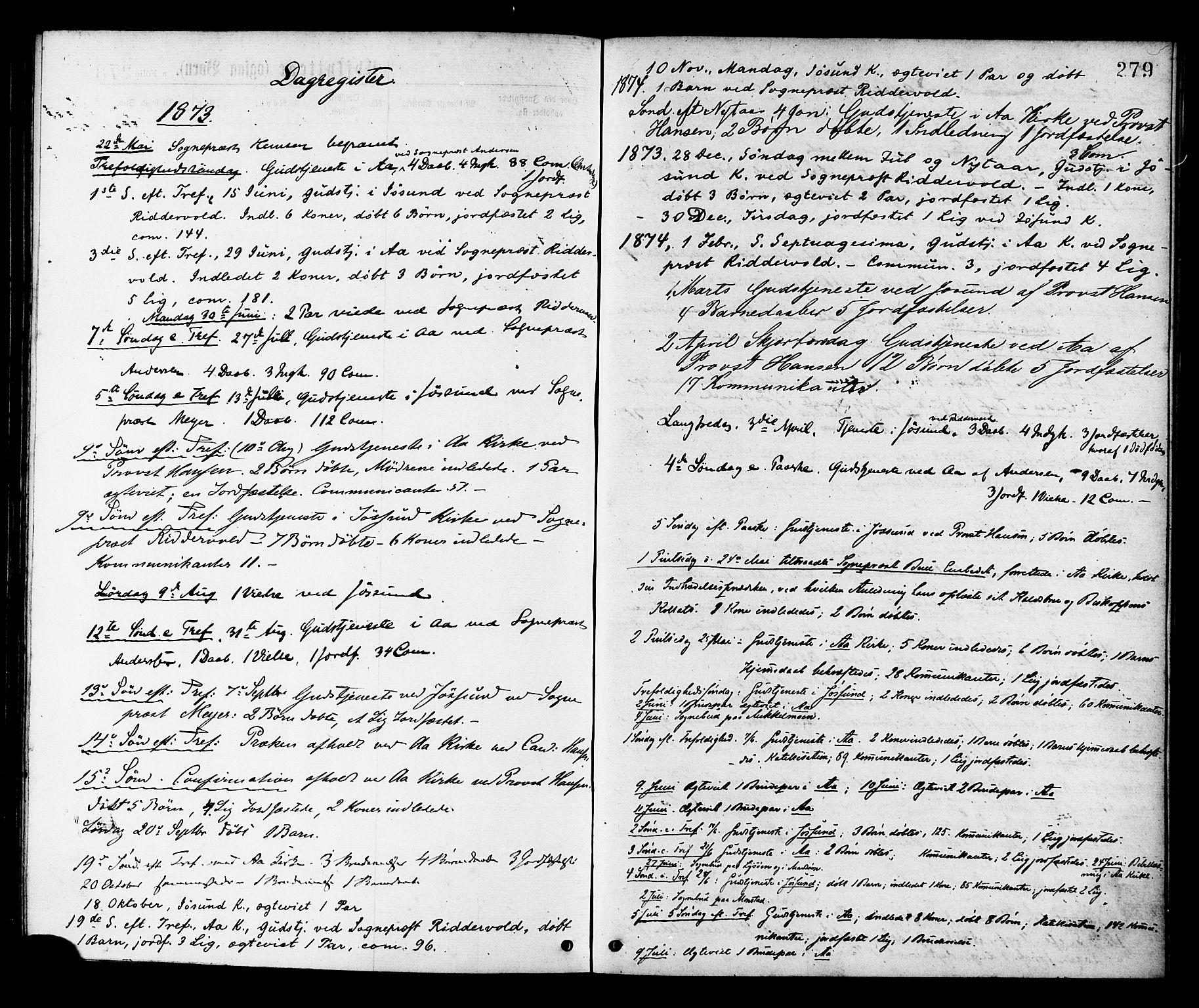 SAT, Ministerialprotokoller, klokkerbøker og fødselsregistre - Sør-Trøndelag, 655/L0679: Ministerialbok nr. 655A08, 1873-1879, s. 279