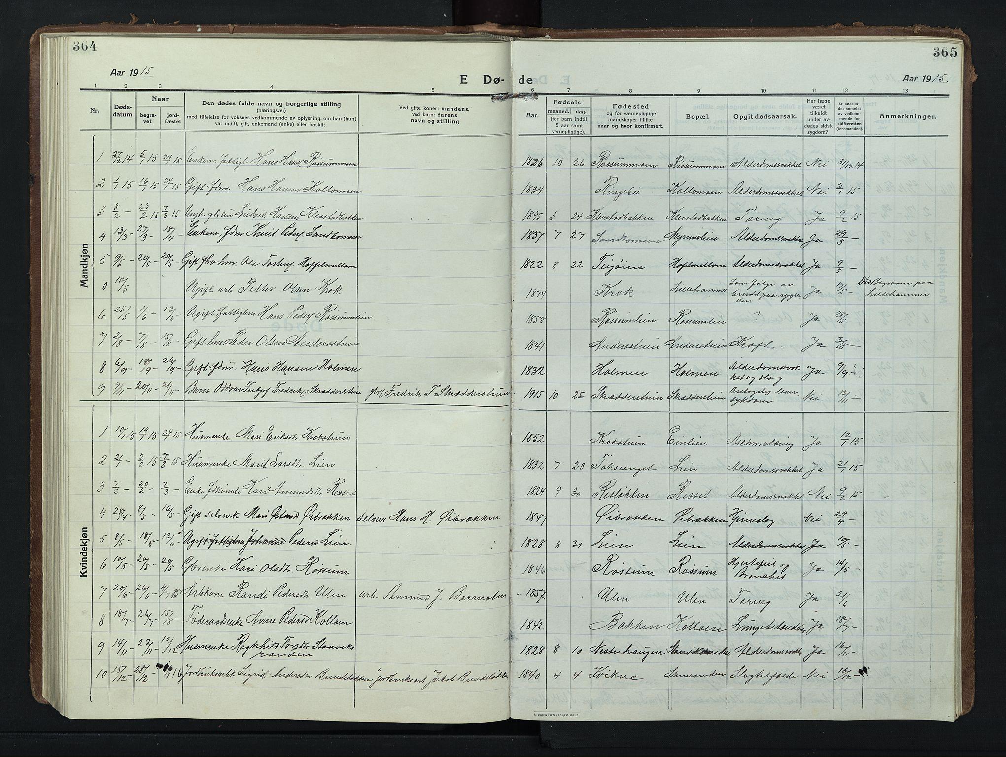 SAH, Nord-Fron prestekontor, Klokkerbok nr. 8, 1915-1948, s. 364-365