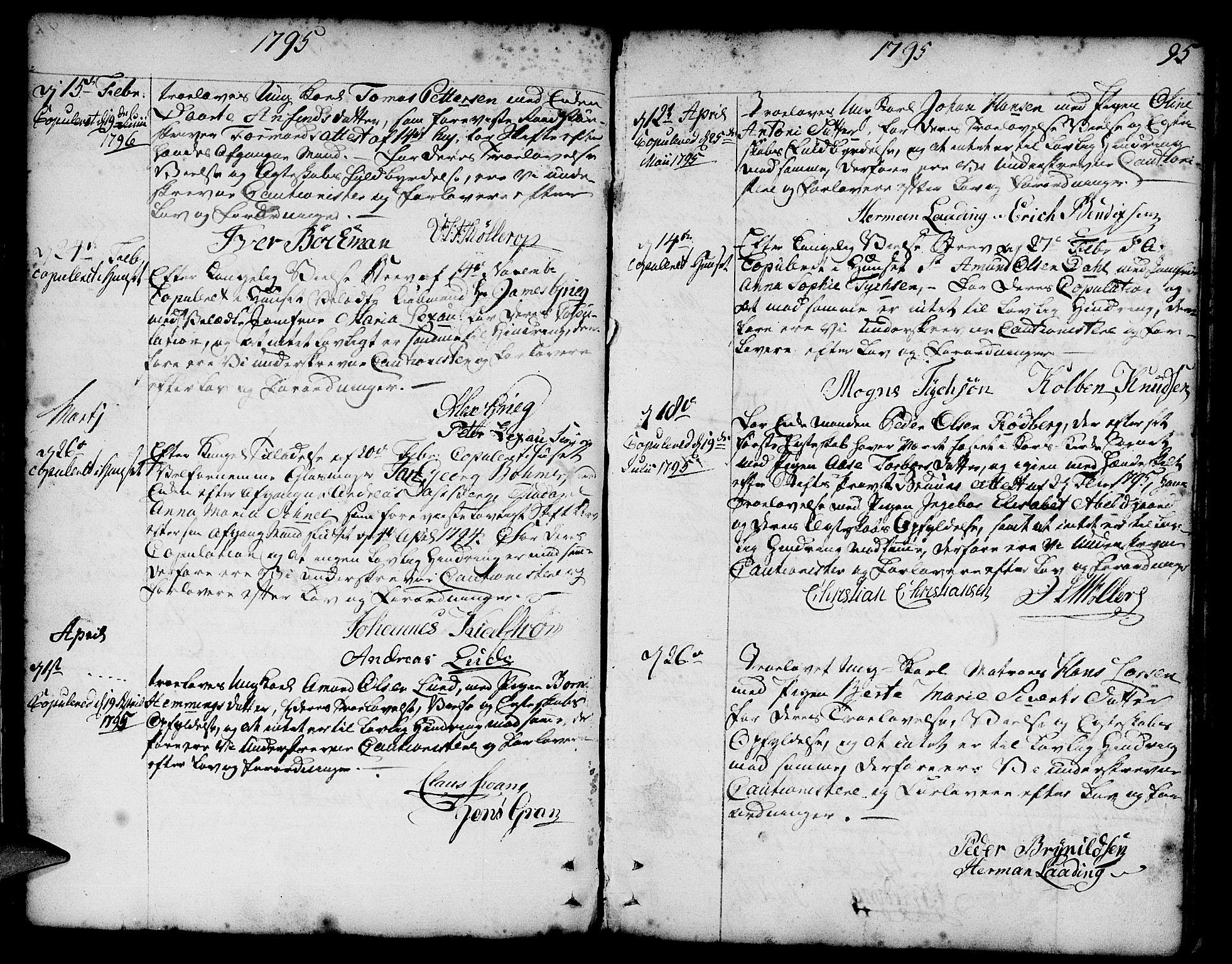 SAB, Nykirken Sokneprestembete, H/Haa: Ministerialbok nr. A 8, 1776-1814, s. 95