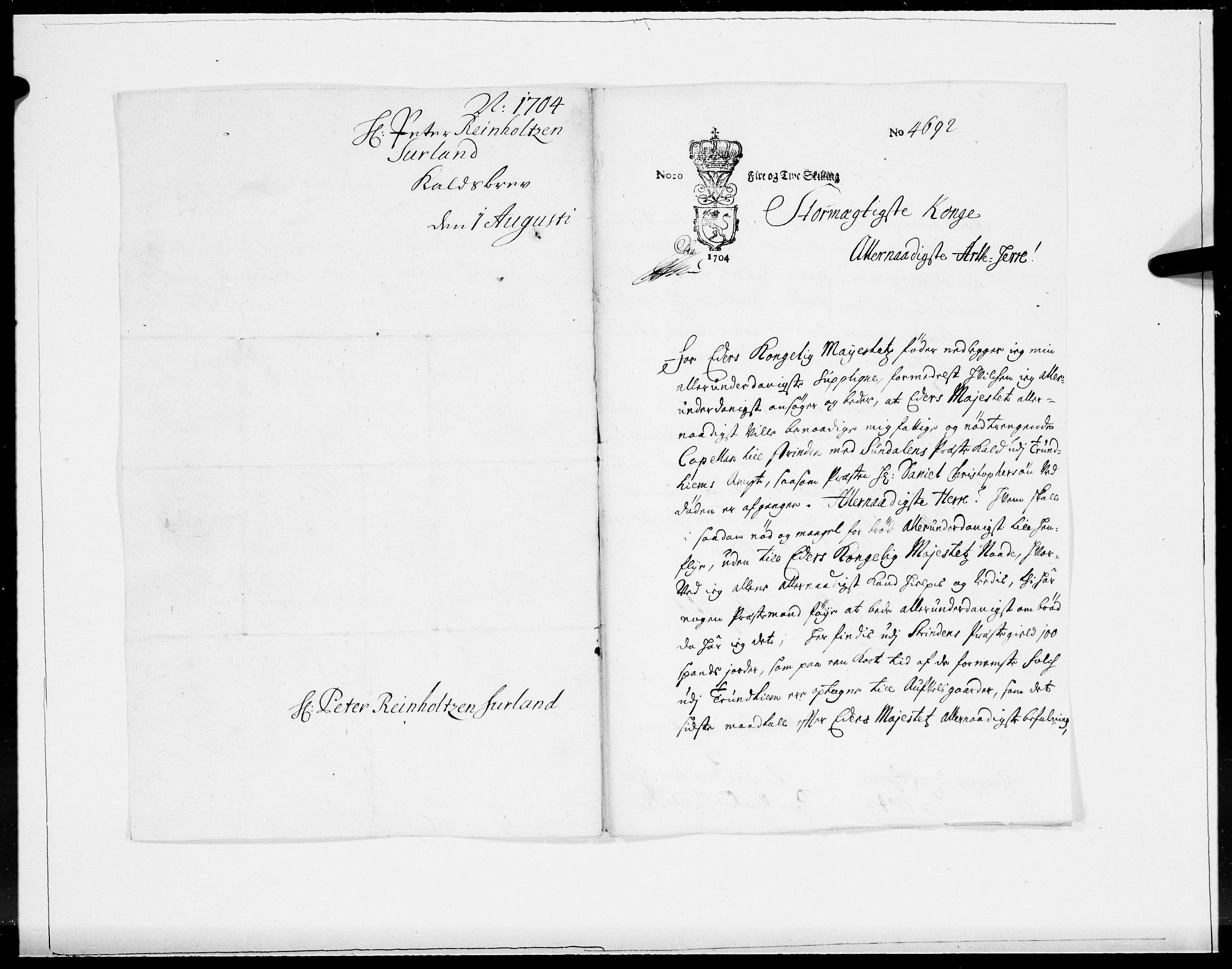 RA, Danske Kanselli 1572-1799, F/Fc/Fcc/Fcca/L0057: Norske innlegg 1572-1799, 1704, s. 145