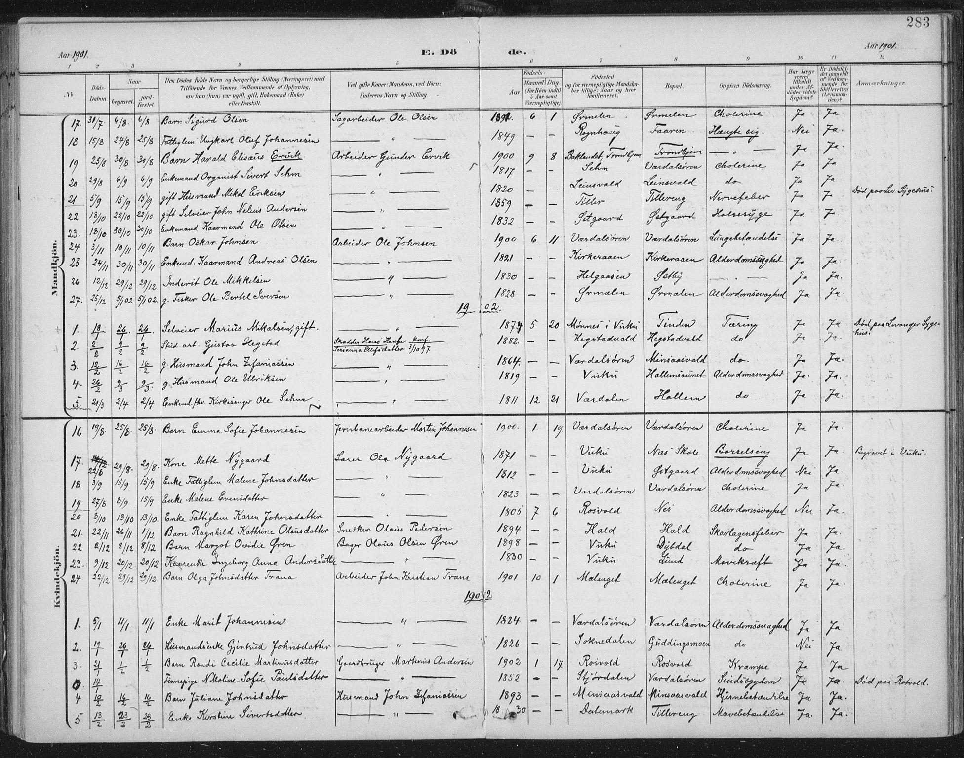 SAT, Ministerialprotokoller, klokkerbøker og fødselsregistre - Nord-Trøndelag, 723/L0246: Ministerialbok nr. 723A15, 1900-1917, s. 283