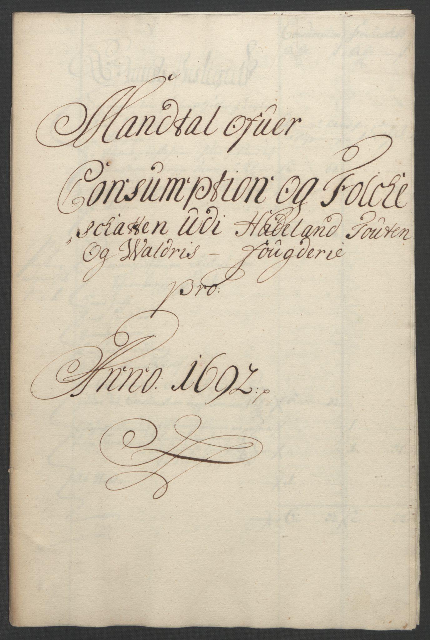 RA, Rentekammeret inntil 1814, Reviderte regnskaper, Fogderegnskap, R18/L1291: Fogderegnskap Hadeland, Toten og Valdres, 1692, s. 111