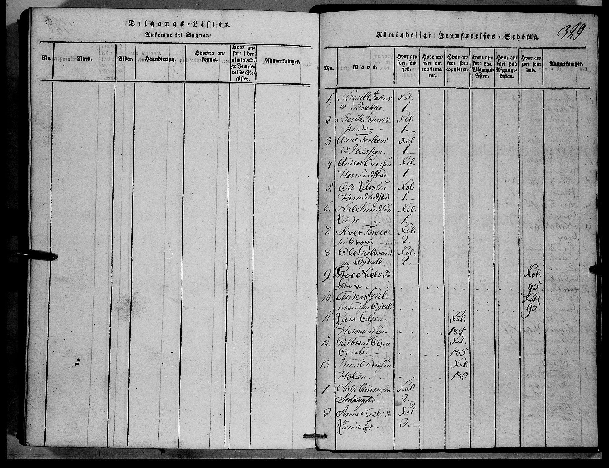 SAH, Vang prestekontor, Valdres, Klokkerbok nr. 1, 1814-1820, s. 329