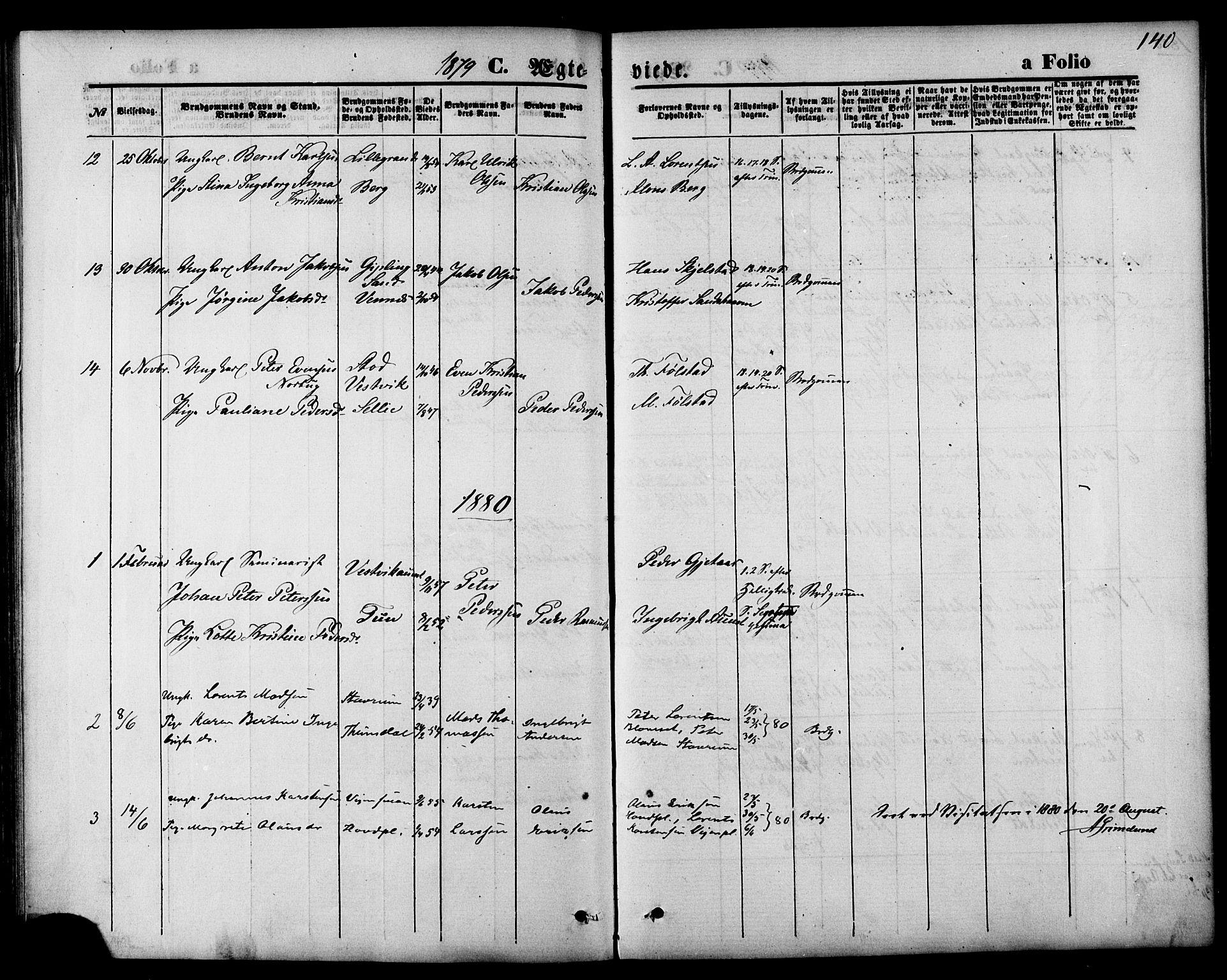 SAT, Ministerialprotokoller, klokkerbøker og fødselsregistre - Nord-Trøndelag, 744/L0419: Ministerialbok nr. 744A03, 1867-1881, s. 140
