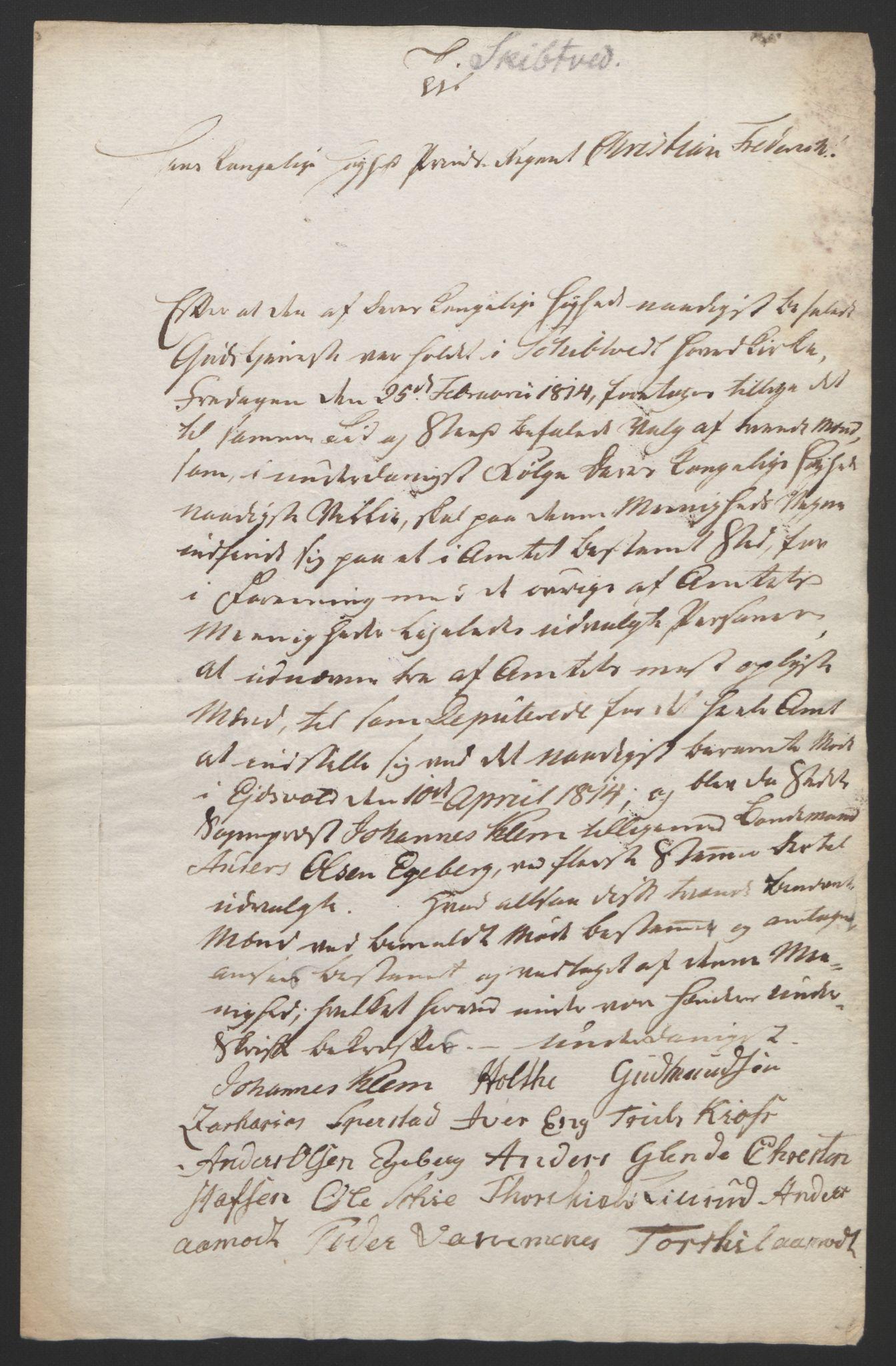 RA, Statsrådssekretariatet, D/Db/L0007: Fullmakter for Eidsvollsrepresentantene i 1814. , 1814, s. 164