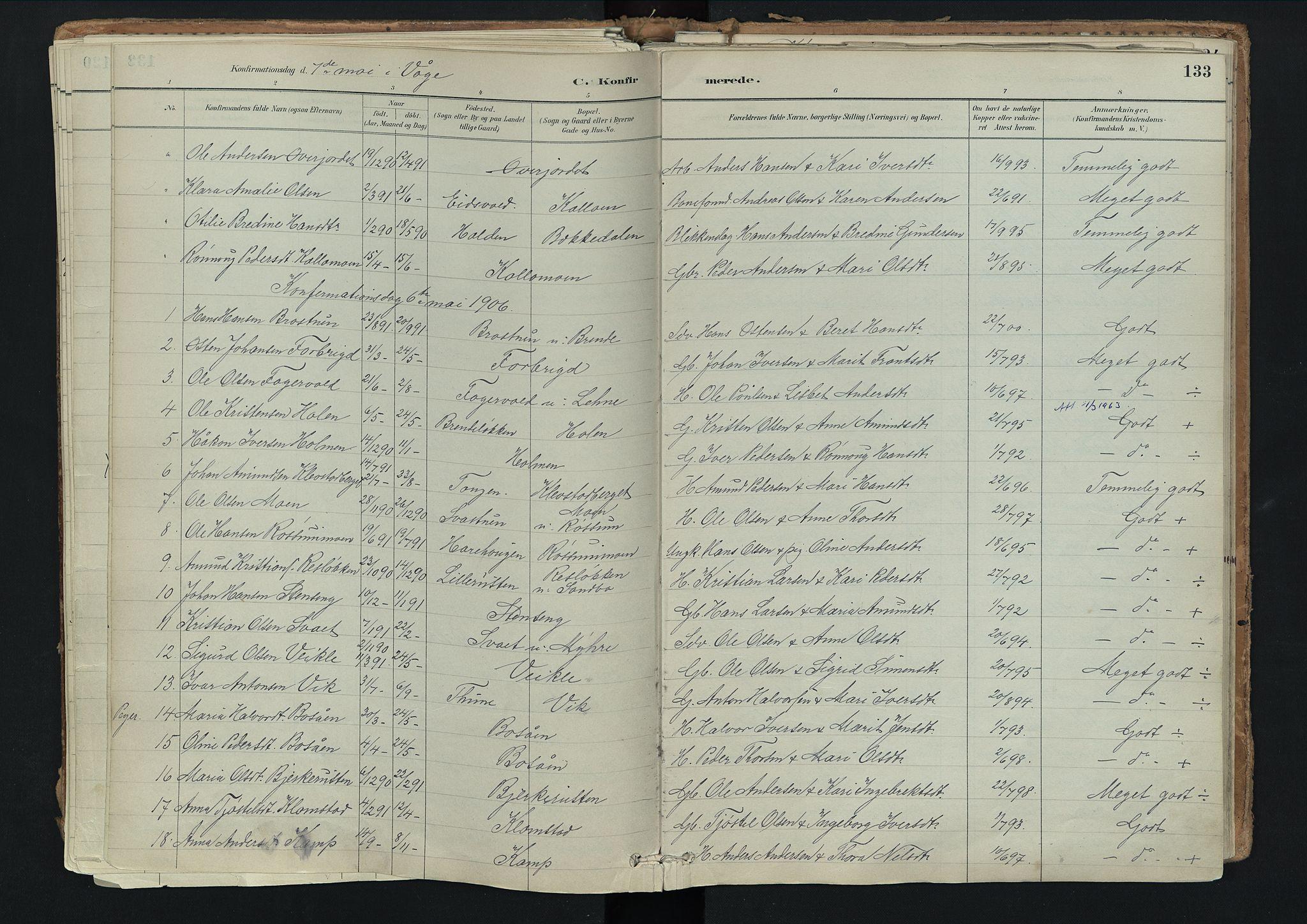 SAH, Nord-Fron prestekontor, Ministerialbok nr. 3, 1884-1914, s. 133