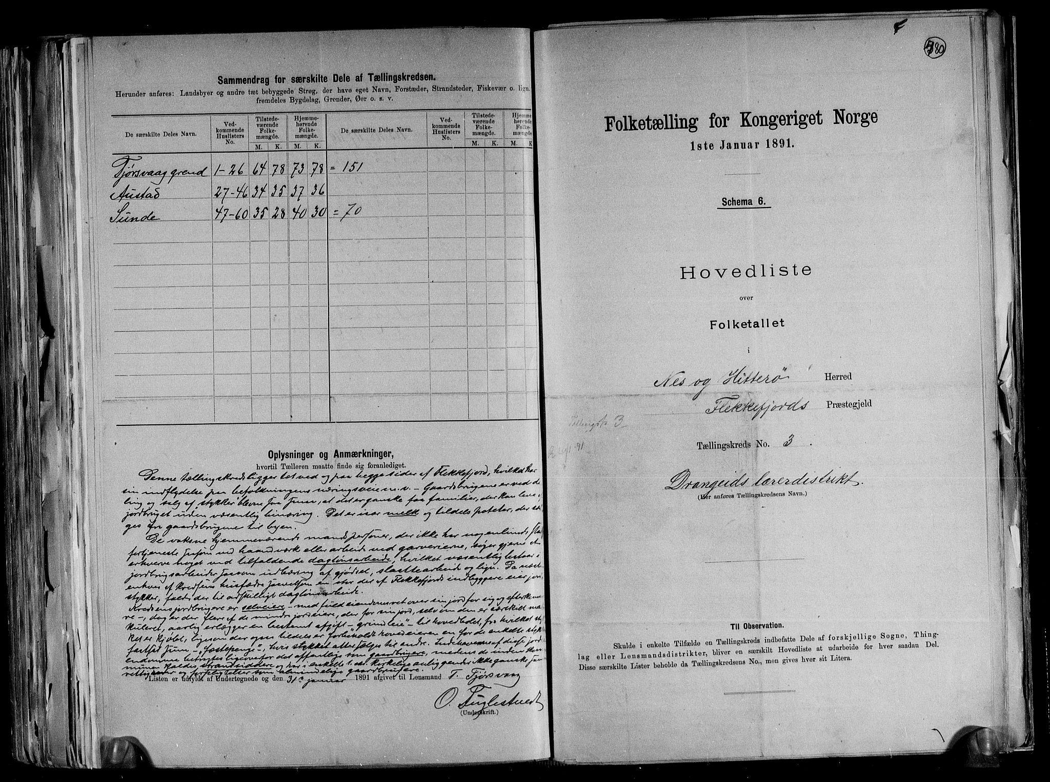 RA, Folketelling 1891 for 1043 Hidra og Nes herred, 1891, s. 9
