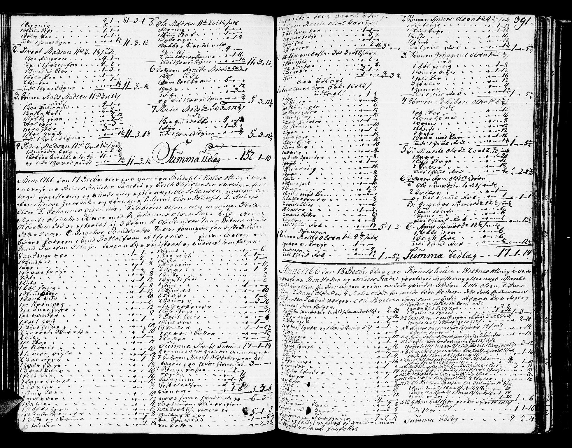 SAT, Romsdal sorenskriveri, 3/3A/L0009: Skifteprotokoll, 1761-1773, s. 390b-391a