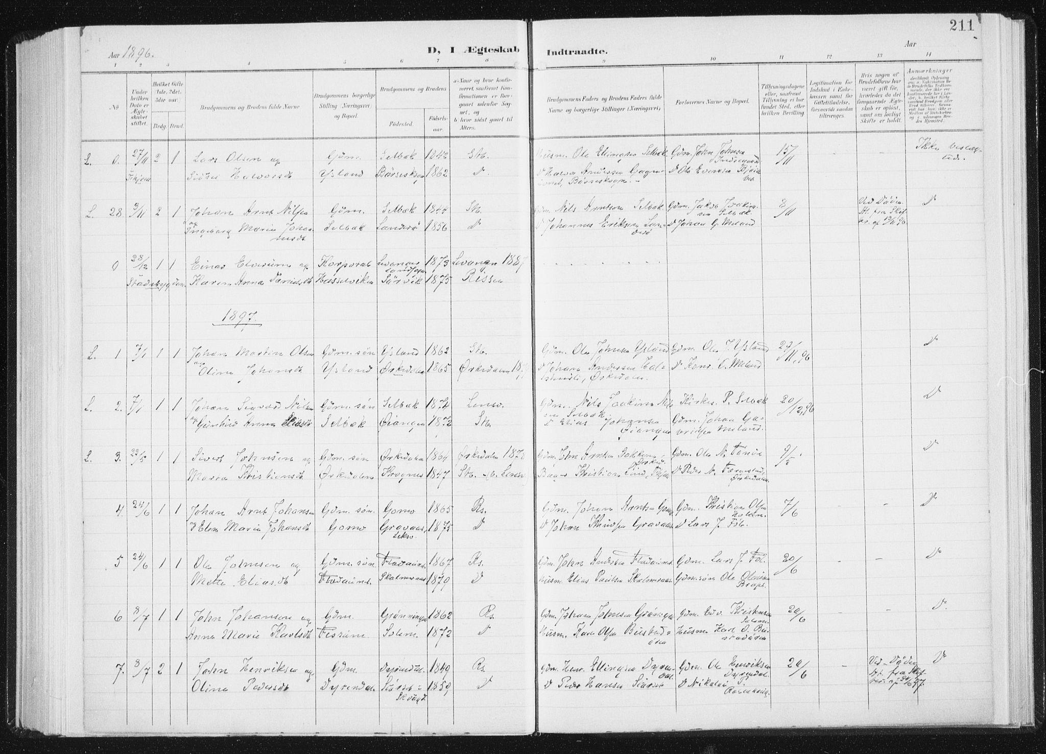 SAT, Ministerialprotokoller, klokkerbøker og fødselsregistre - Sør-Trøndelag, 647/L0635: Ministerialbok nr. 647A02, 1896-1911, s. 211