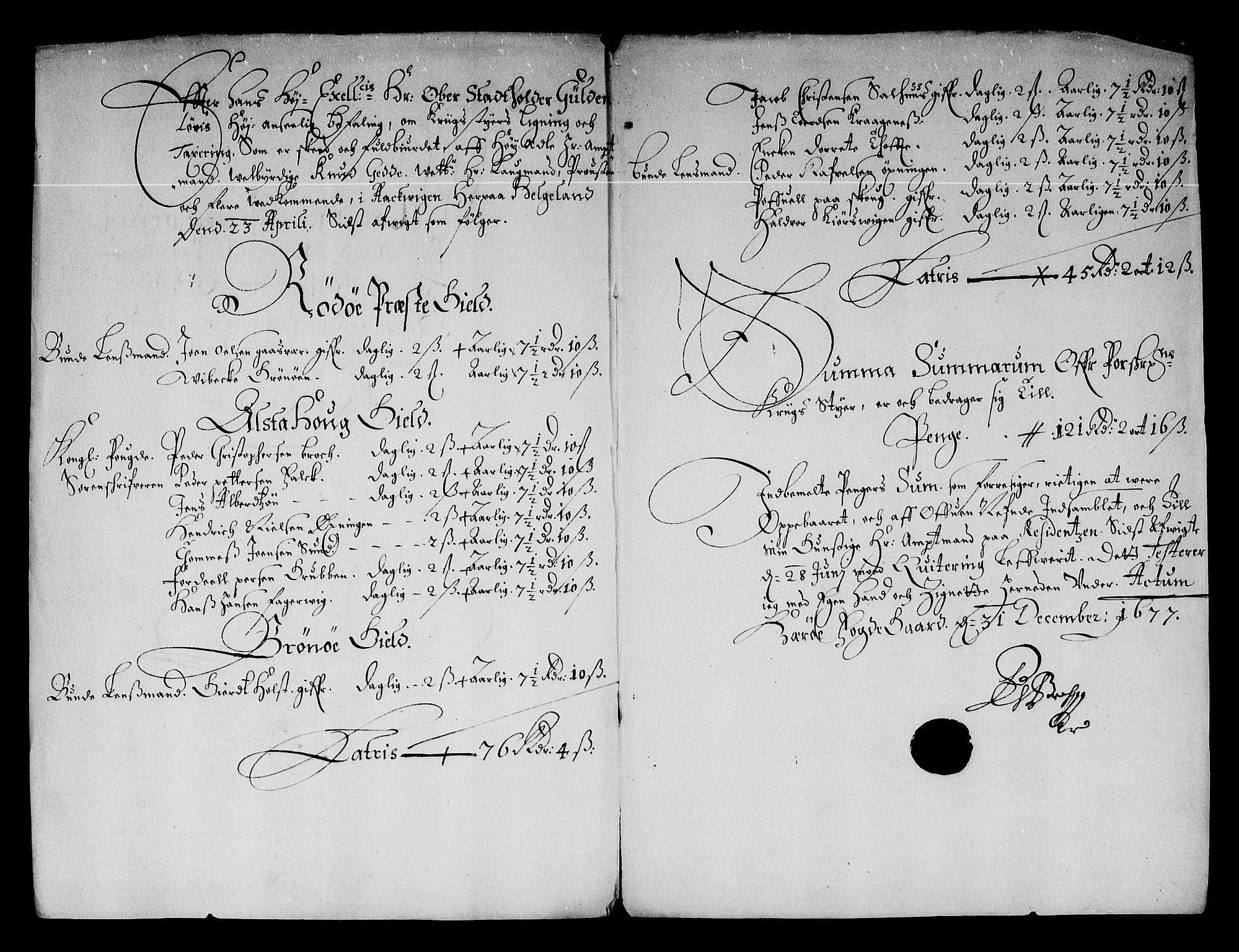 RA, Rentekammeret inntil 1814, Reviderte regnskaper, Stiftamtstueregnskaper, Trondheim stiftamt og Nordland amt, R/Re/L0049: Trondheim stiftamt og Nordland amt, 1677