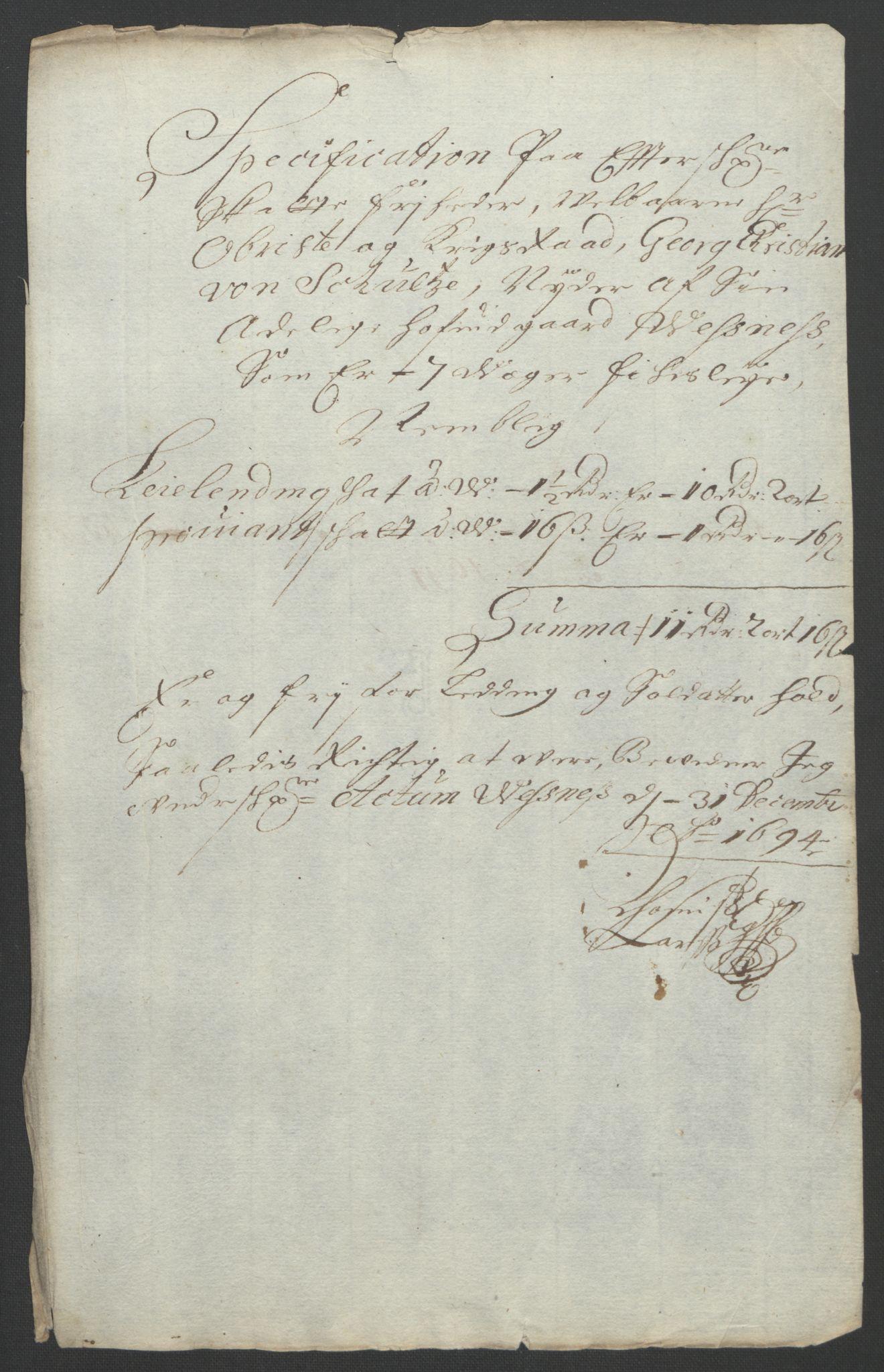 RA, Rentekammeret inntil 1814, Reviderte regnskaper, Fogderegnskap, R55/L3651: Fogderegnskap Romsdal, 1693-1694, s. 290
