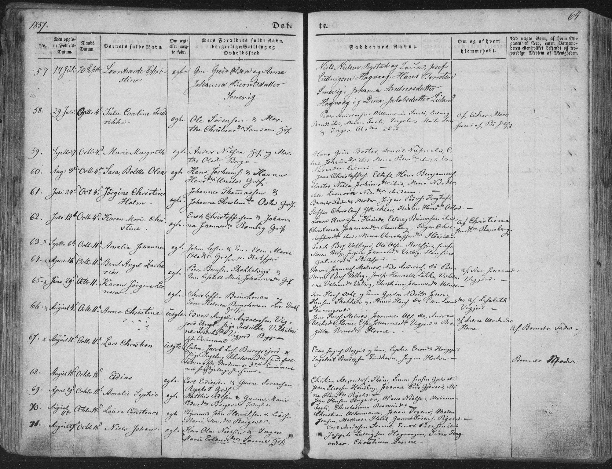 SAT, Ministerialprotokoller, klokkerbøker og fødselsregistre - Nordland, 880/L1131: Ministerialbok nr. 880A05, 1844-1868, s. 64
