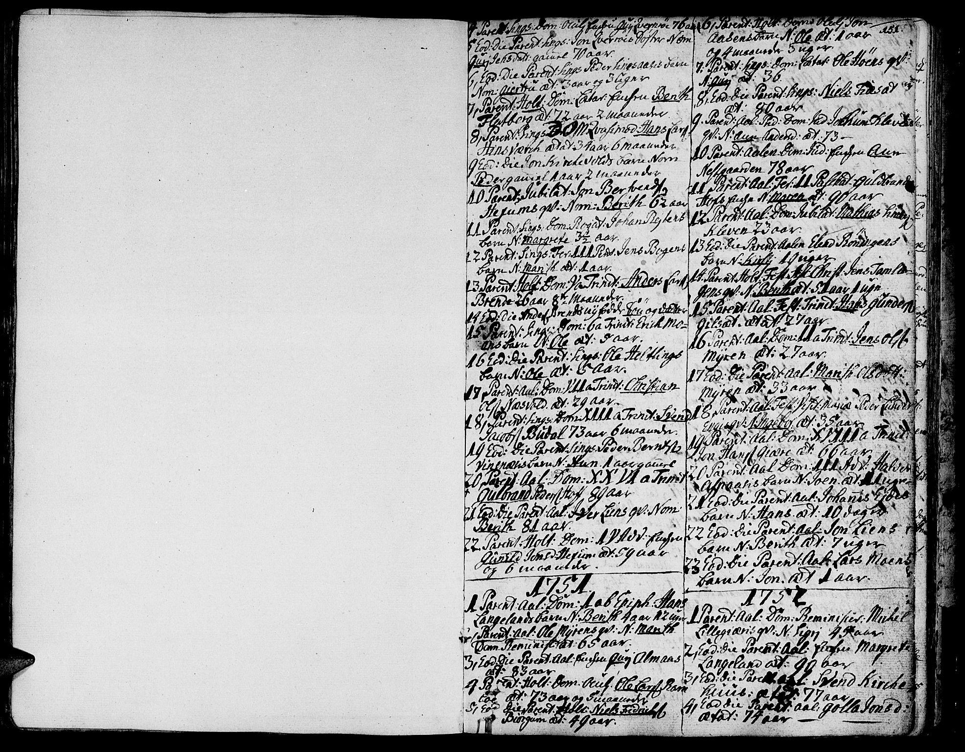 SAT, Ministerialprotokoller, klokkerbøker og fødselsregistre - Sør-Trøndelag, 685/L0952: Ministerialbok nr. 685A01, 1745-1804, s. 151