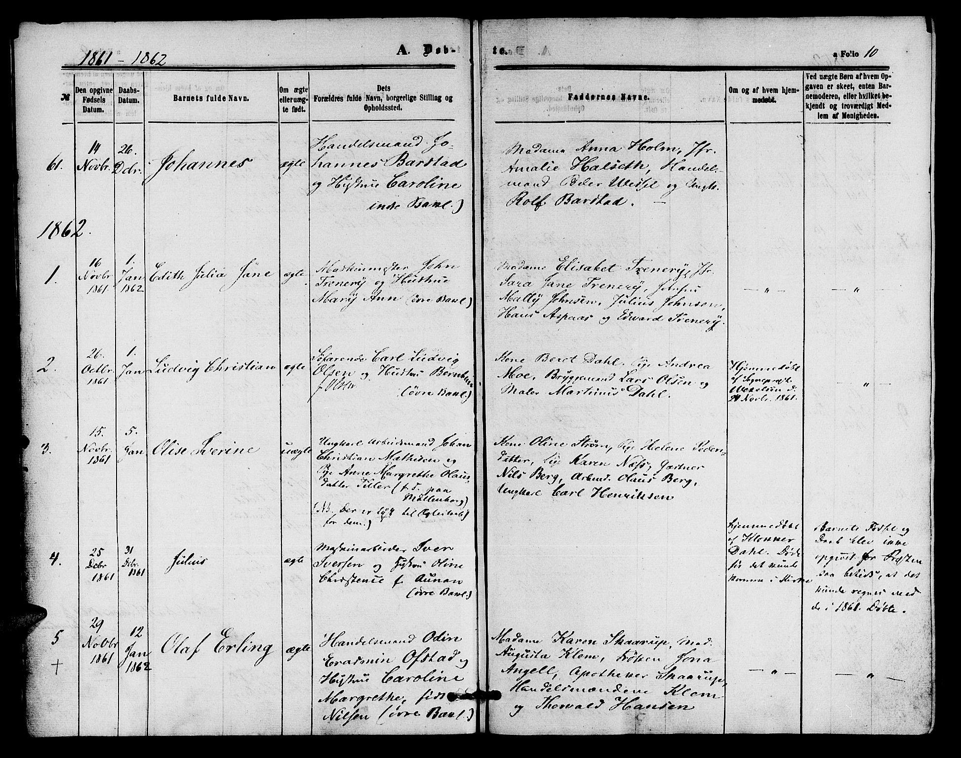 SAT, Ministerialprotokoller, klokkerbøker og fødselsregistre - Sør-Trøndelag, 604/L0185: Ministerialbok nr. 604A06, 1861-1865, s. 10