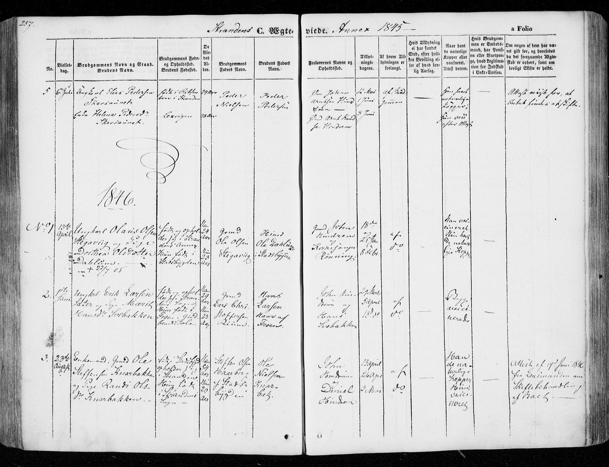 SAT, Ministerialprotokoller, klokkerbøker og fødselsregistre - Nord-Trøndelag, 701/L0007: Ministerialbok nr. 701A07 /2, 1842-1854, s. 257